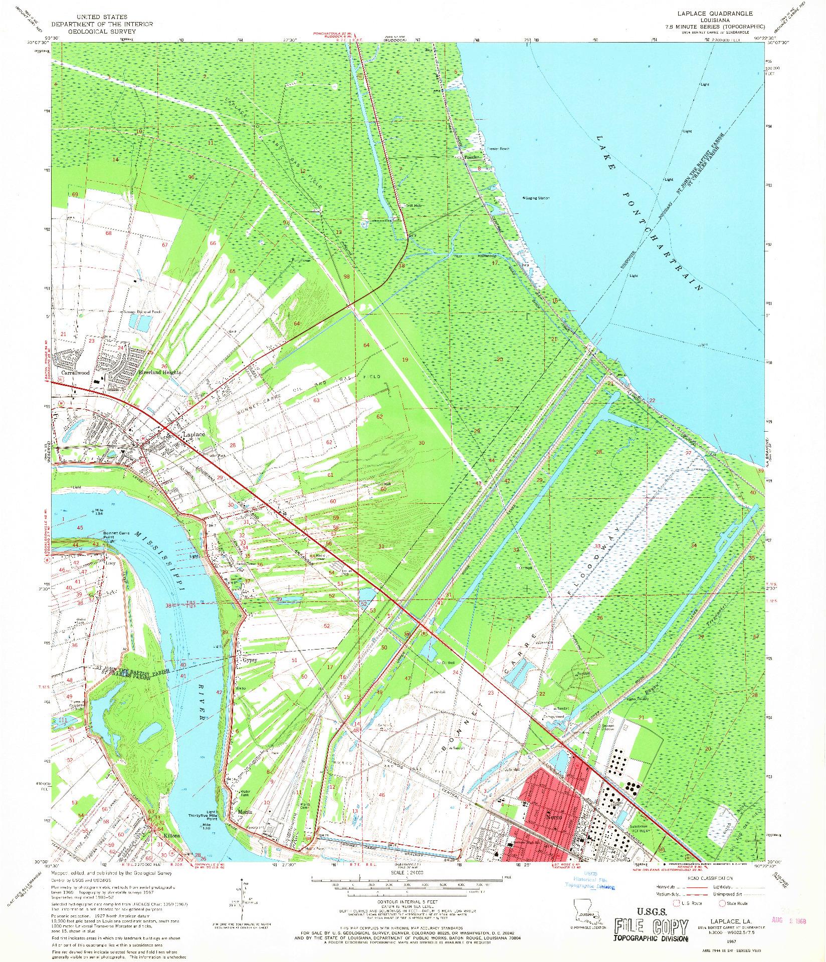 USGS 1:24000-SCALE QUADRANGLE FOR LAPLACE, LA 1967