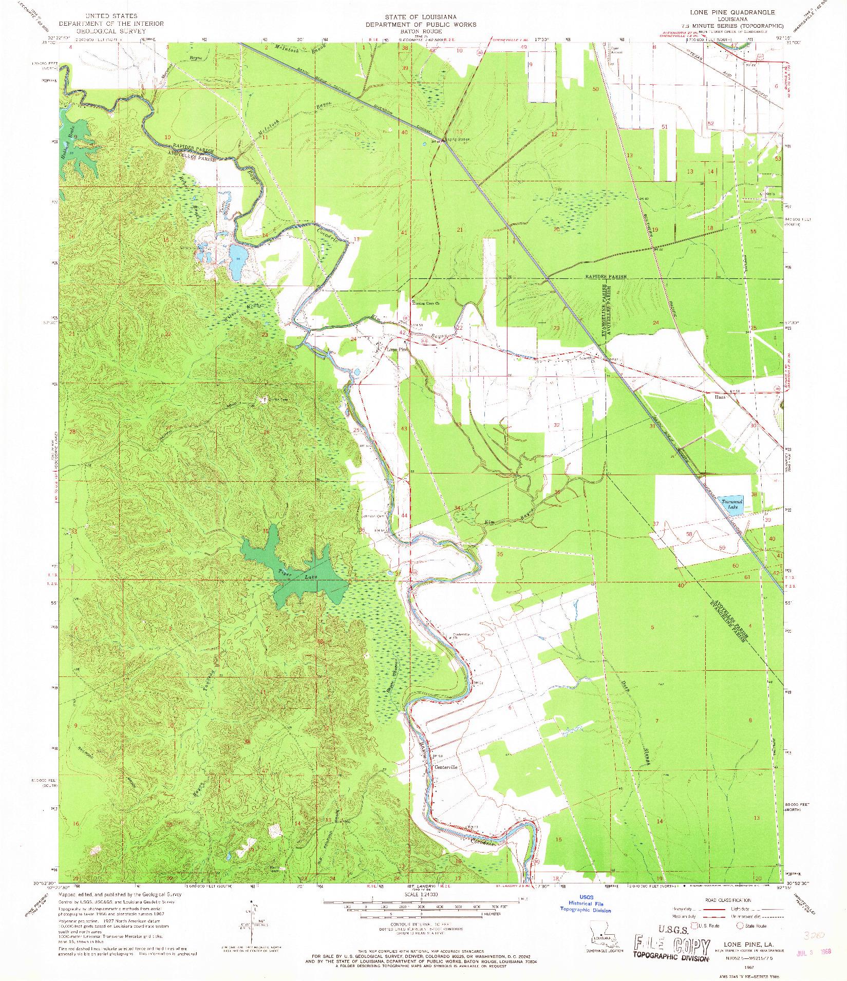 USGS 1:24000-SCALE QUADRANGLE FOR LONE PINE, LA 1967