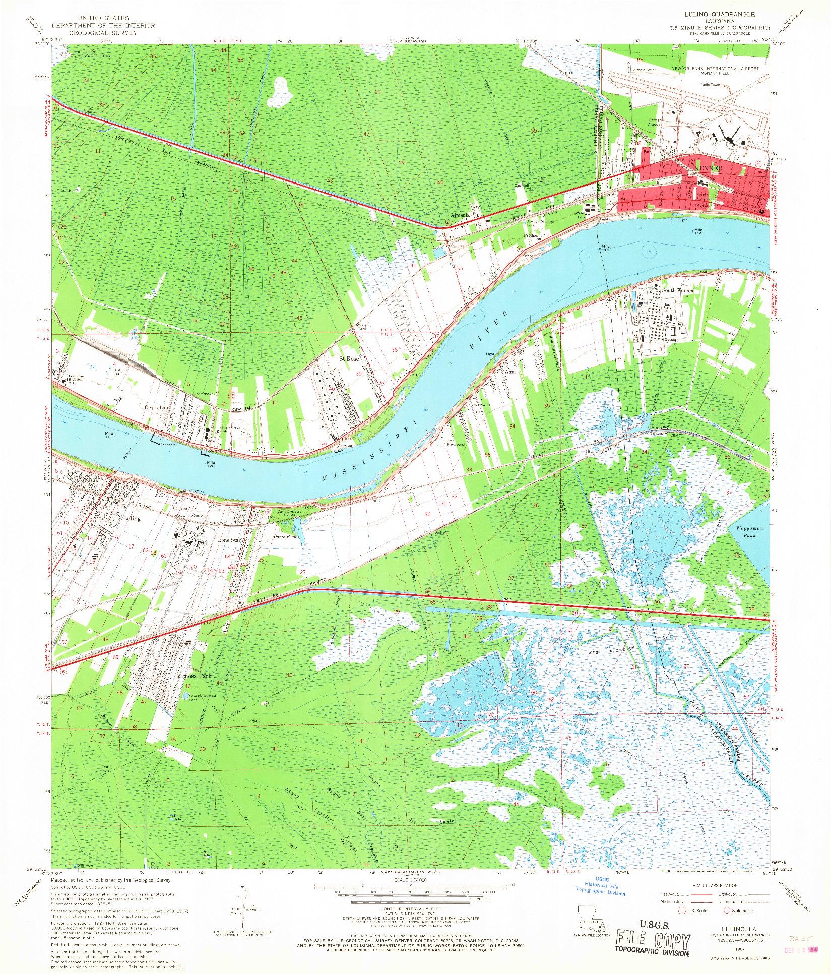 USGS 1:24000-SCALE QUADRANGLE FOR LULING, LA 1967