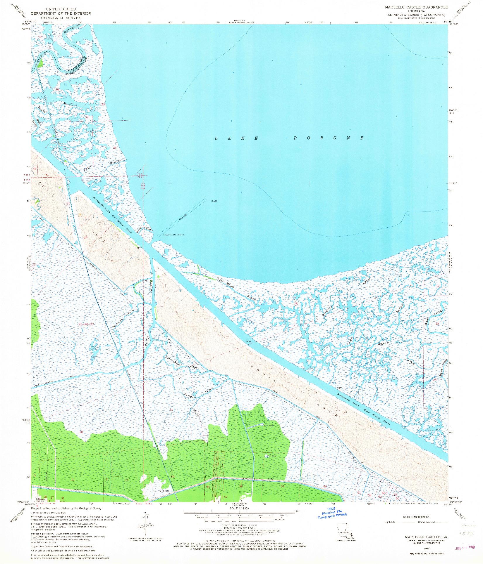 USGS 1:24000-SCALE QUADRANGLE FOR MARTELLO CASTLE, LA 1967