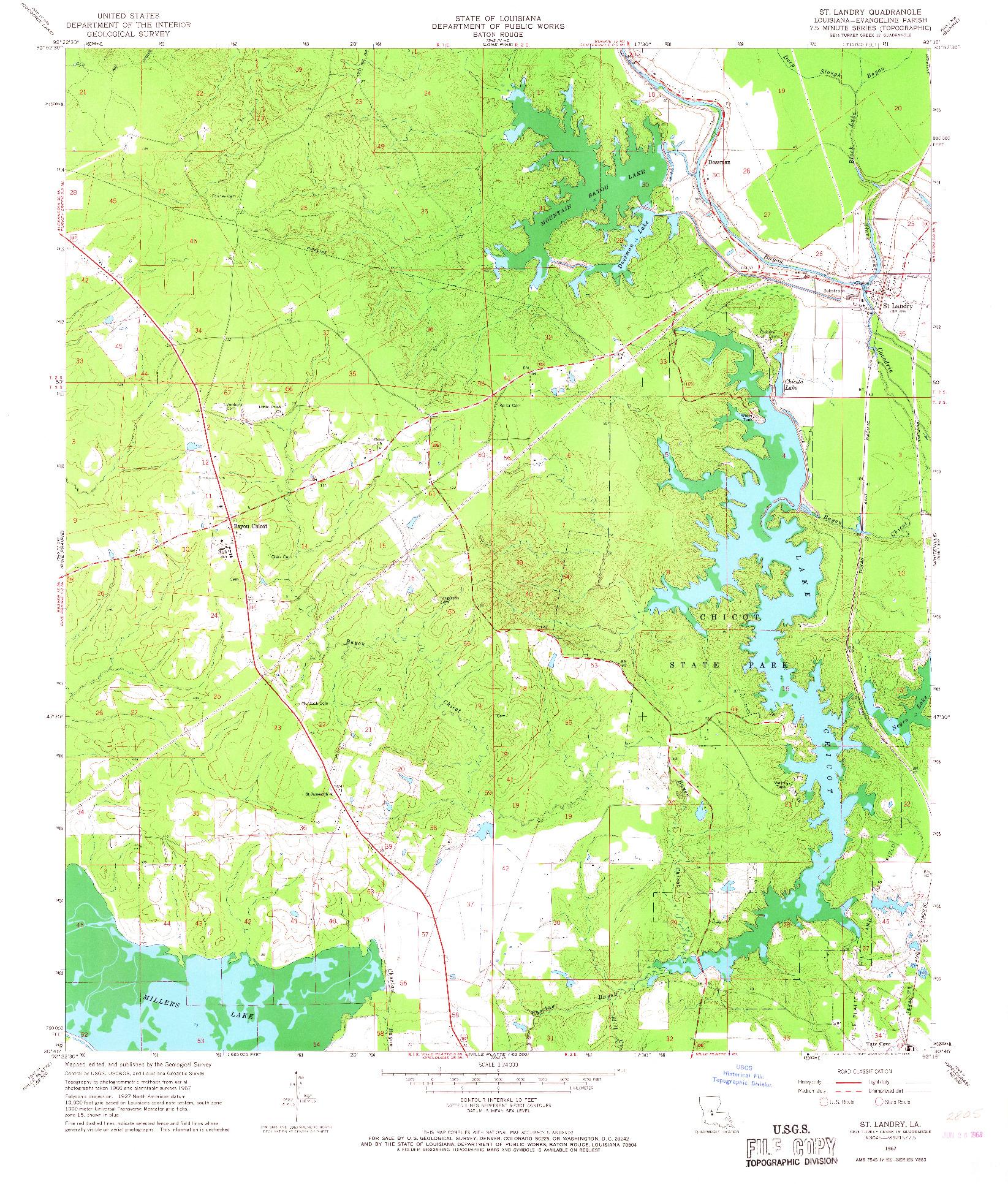 USGS 1:24000-SCALE QUADRANGLE FOR ST. LANDRY, LA 1967