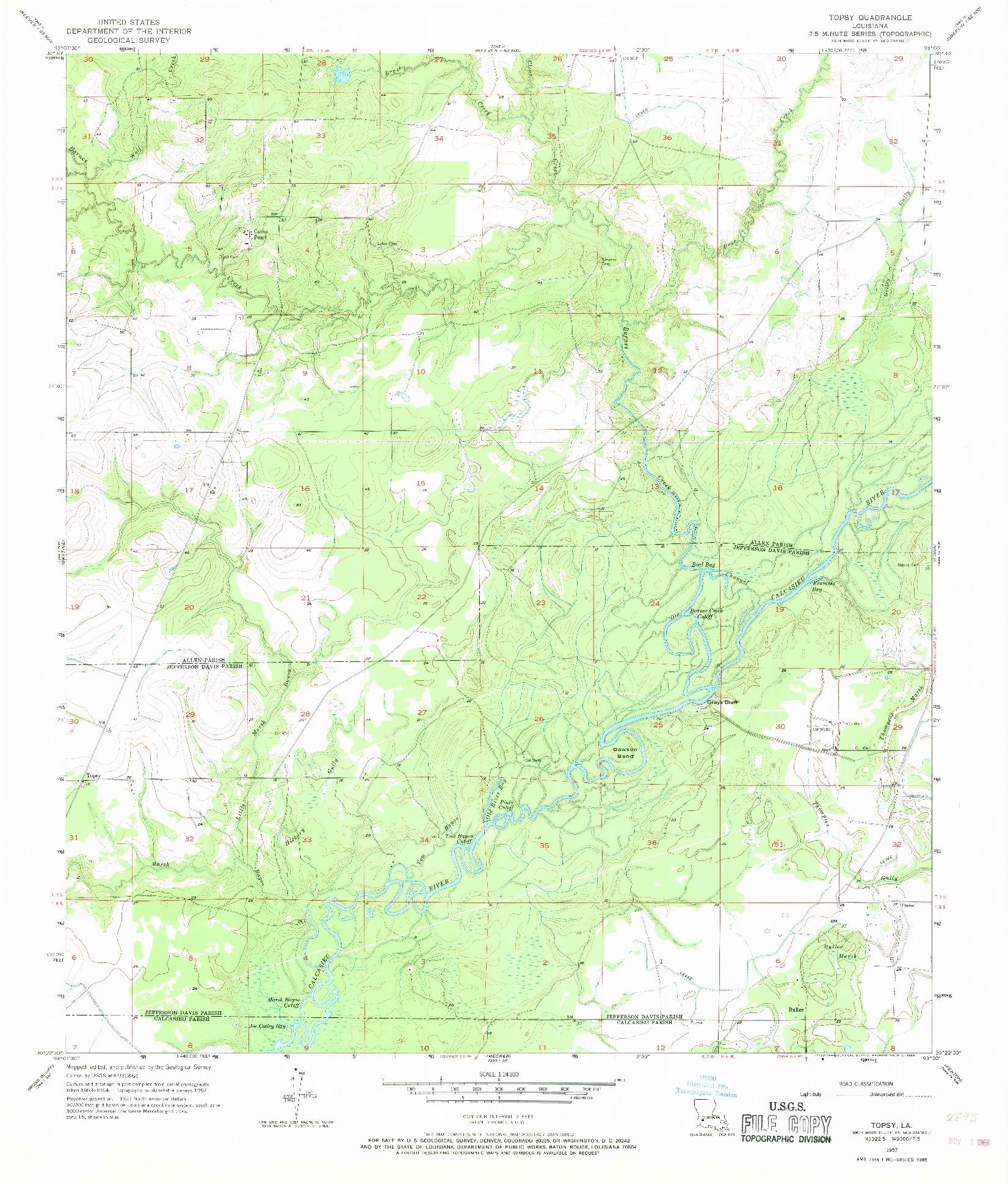 USGS 1:24000-SCALE QUADRANGLE FOR TOPSY, LA 1957