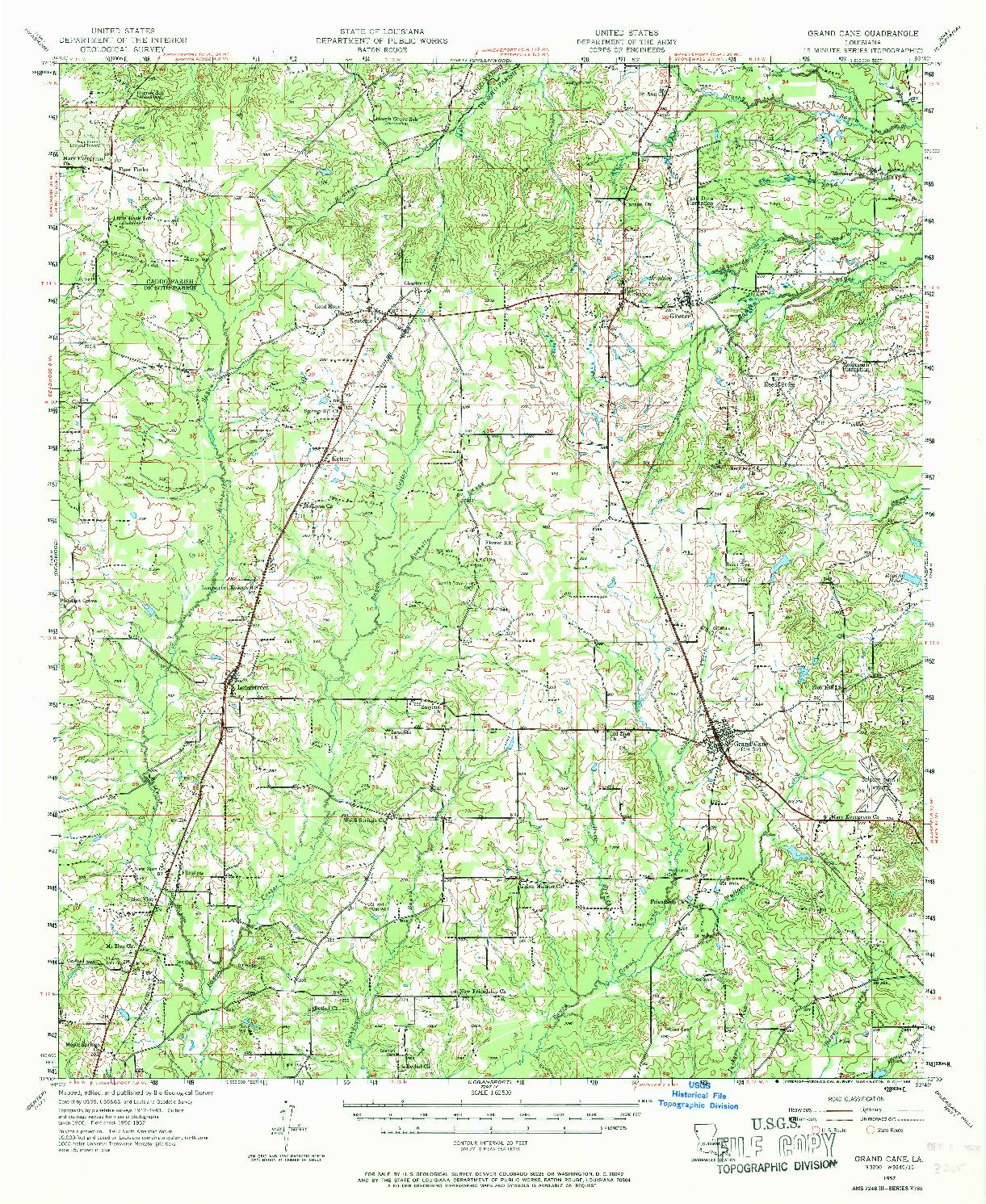 USGS 1:62500-SCALE QUADRANGLE FOR GRAND CANE, LA 1957