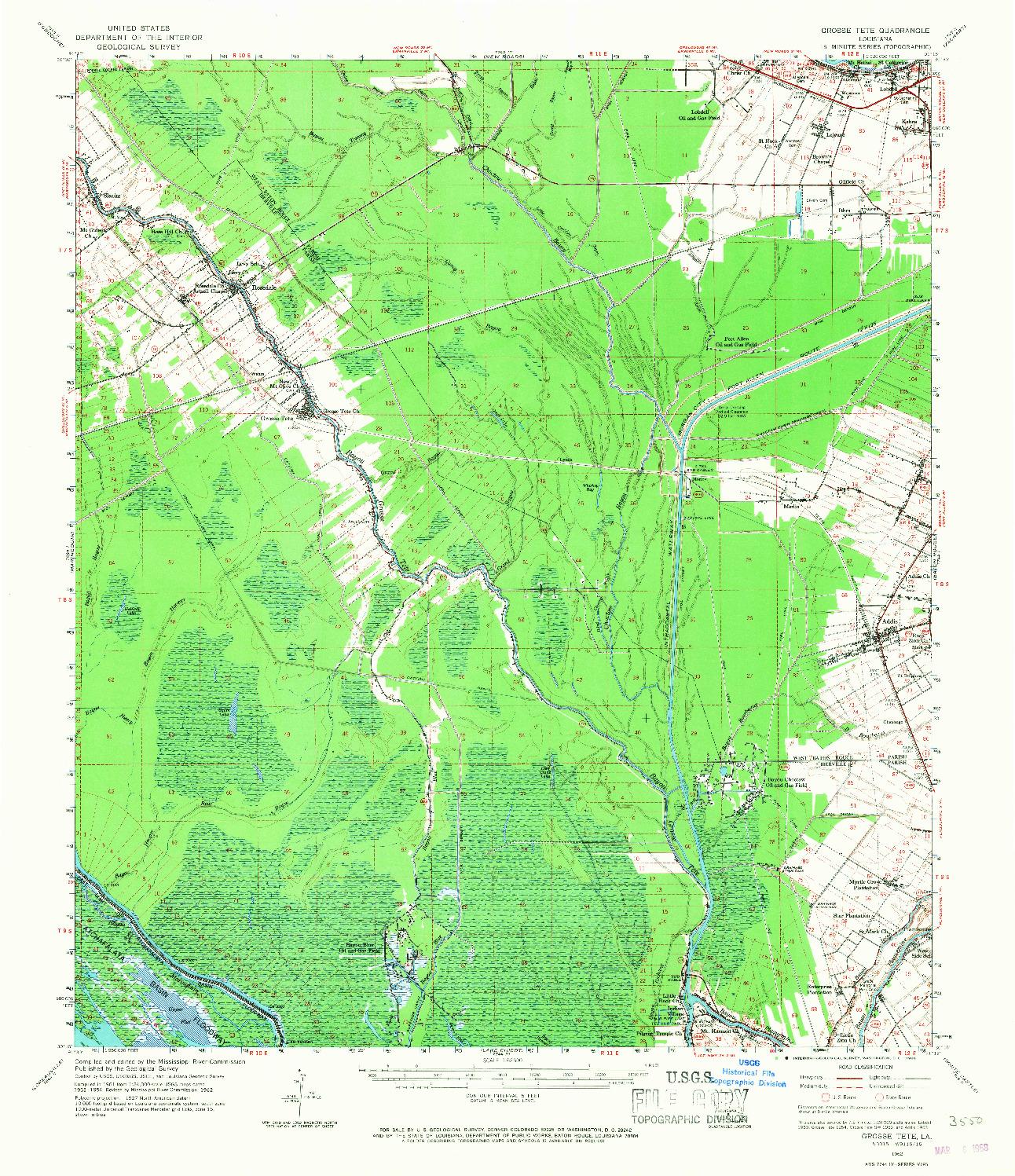 USGS 1:62500-SCALE QUADRANGLE FOR GROSSE TETE, LA 1962