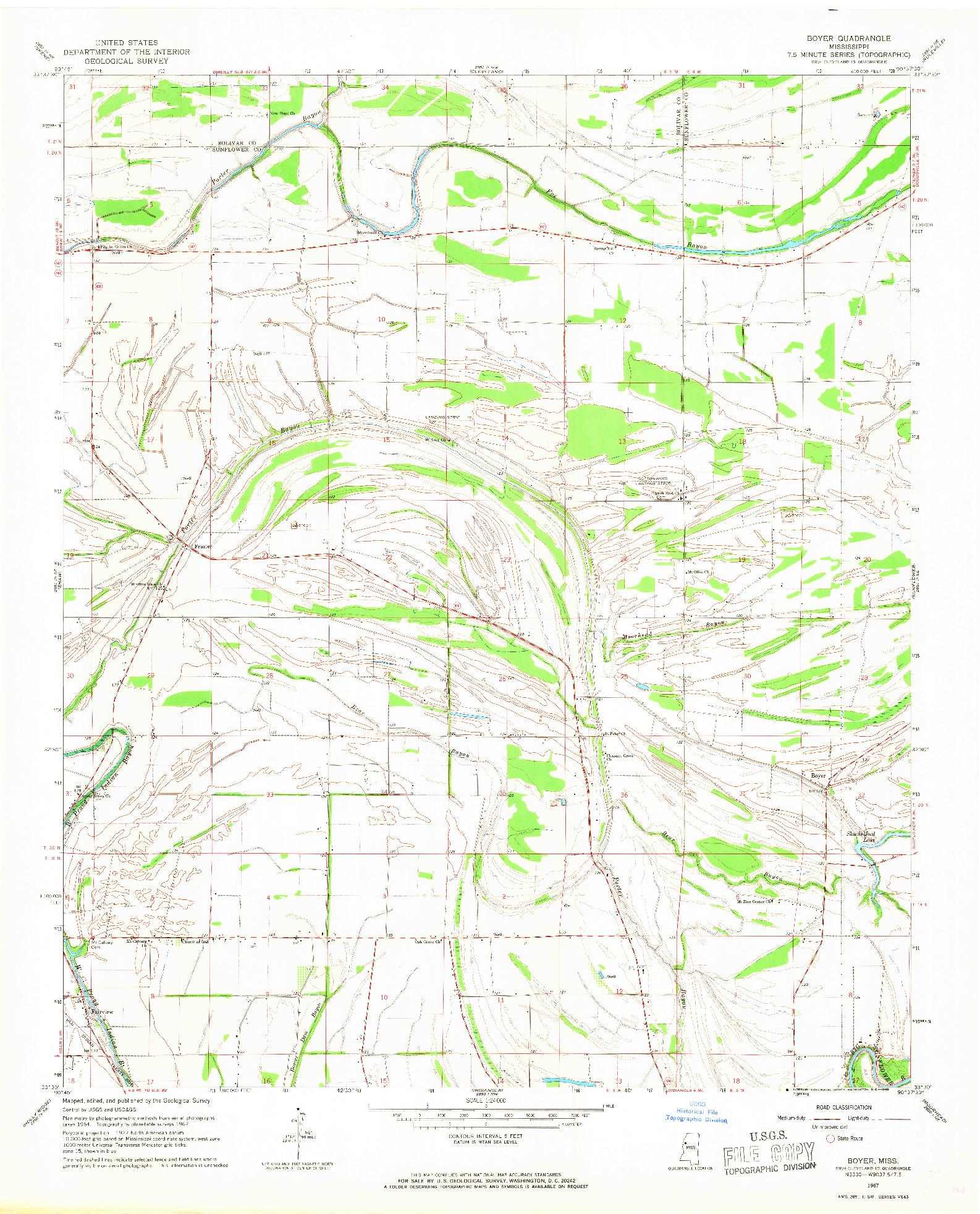USGS 1:24000-SCALE QUADRANGLE FOR BOYER, MS 1967