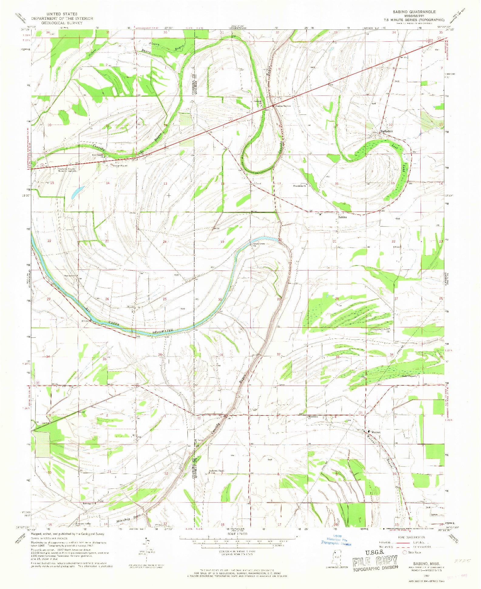 USGS 1:24000-SCALE QUADRANGLE FOR SABINO, MS 1967
