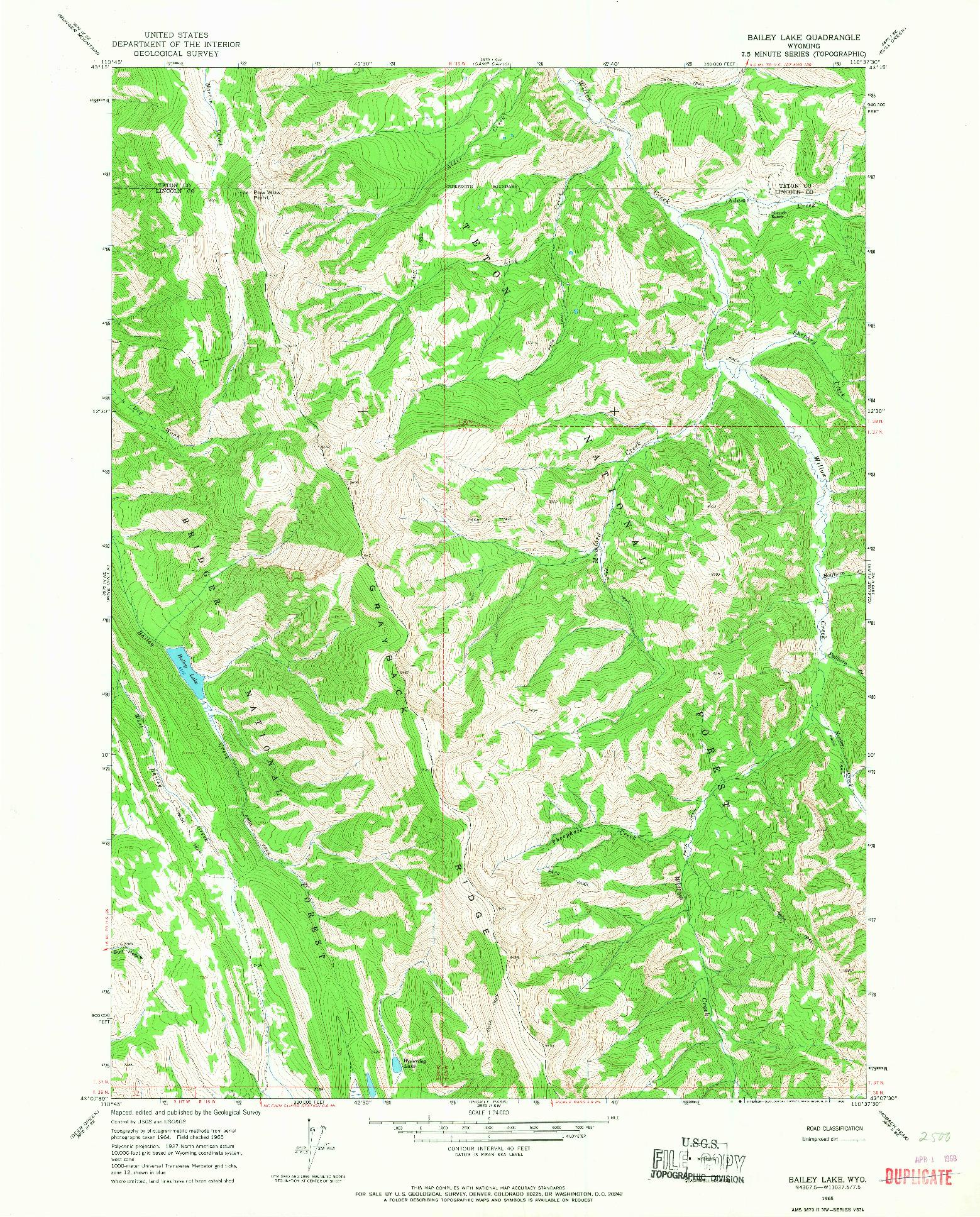 USGS 1:24000-SCALE QUADRANGLE FOR BAILEY LAKE, WY 1965