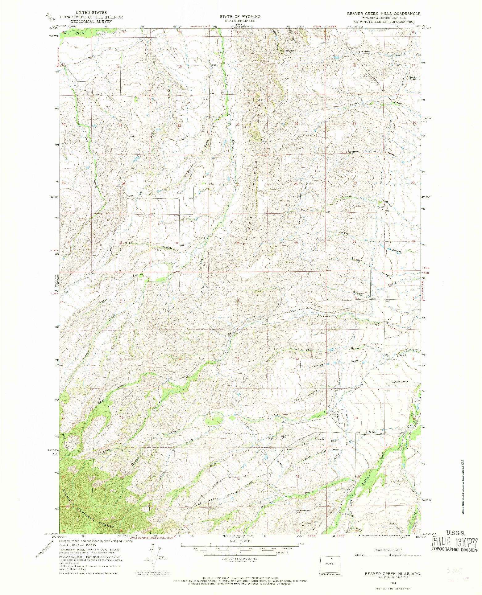 USGS 1:24000-SCALE QUADRANGLE FOR BEAVER CREEK HILLS, WY 1964