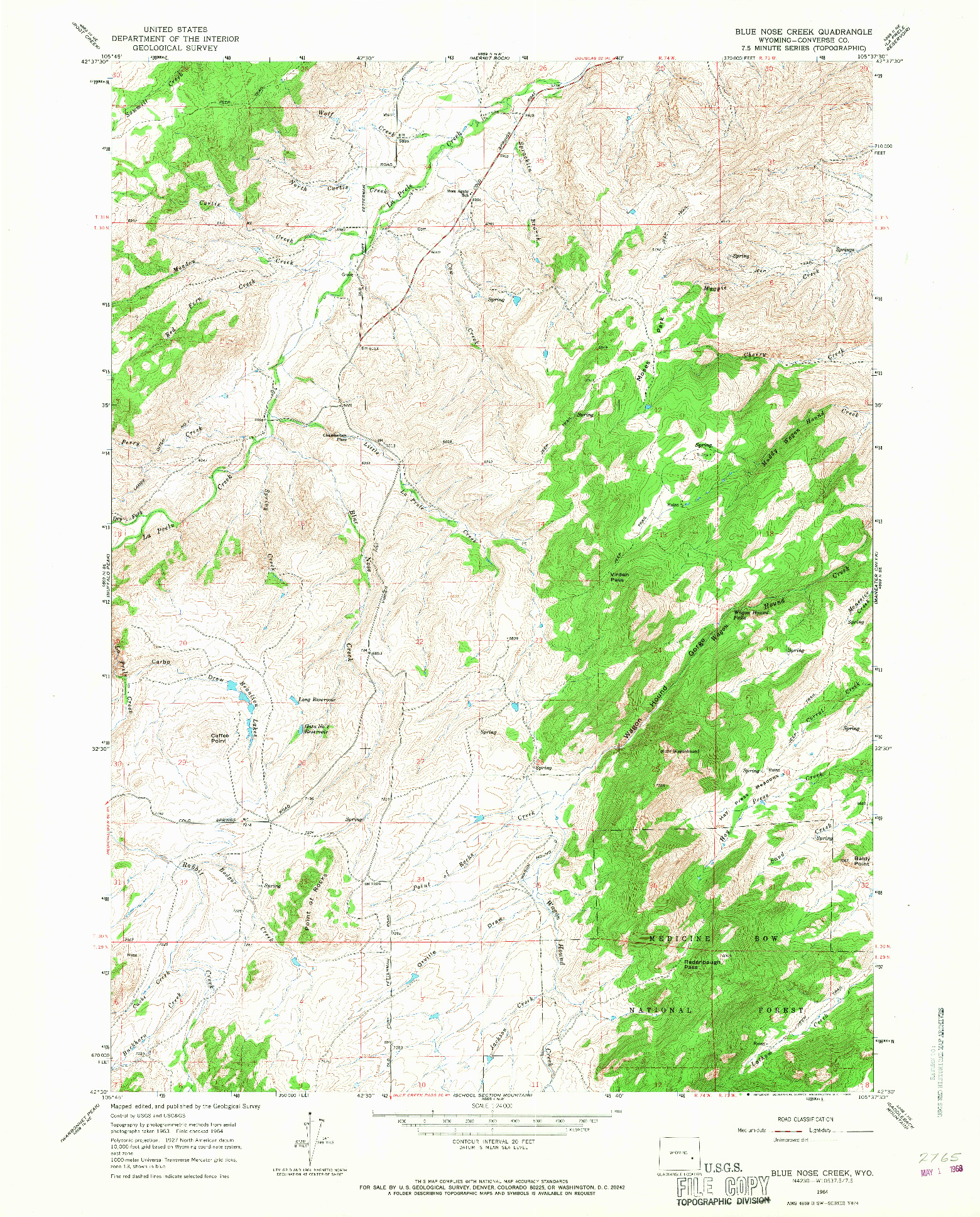 USGS 1:24000-SCALE QUADRANGLE FOR BLUE NOSE CREEK, WY 1964