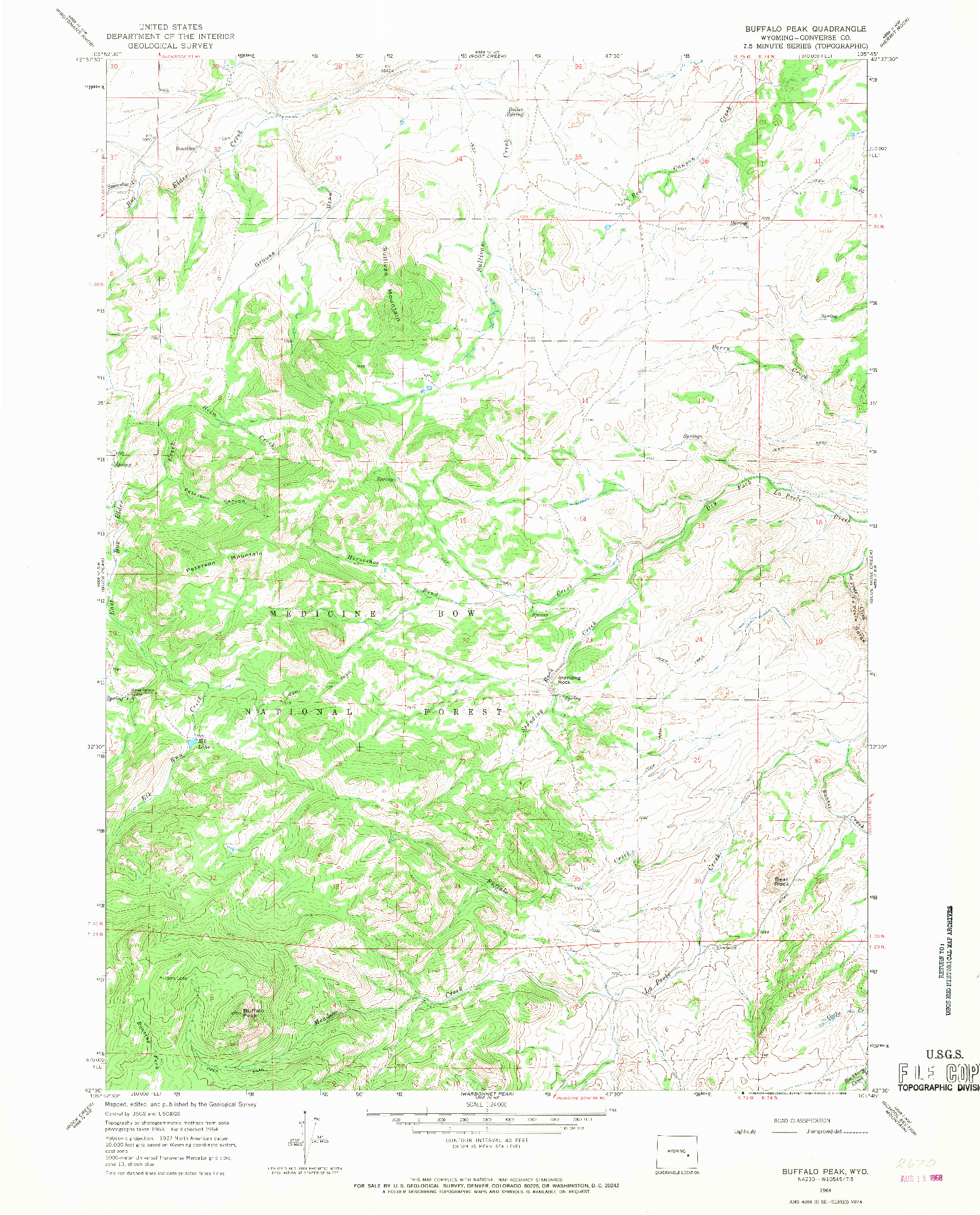 USGS 1:24000-SCALE QUADRANGLE FOR BUFFALO PEAK, WY 1964