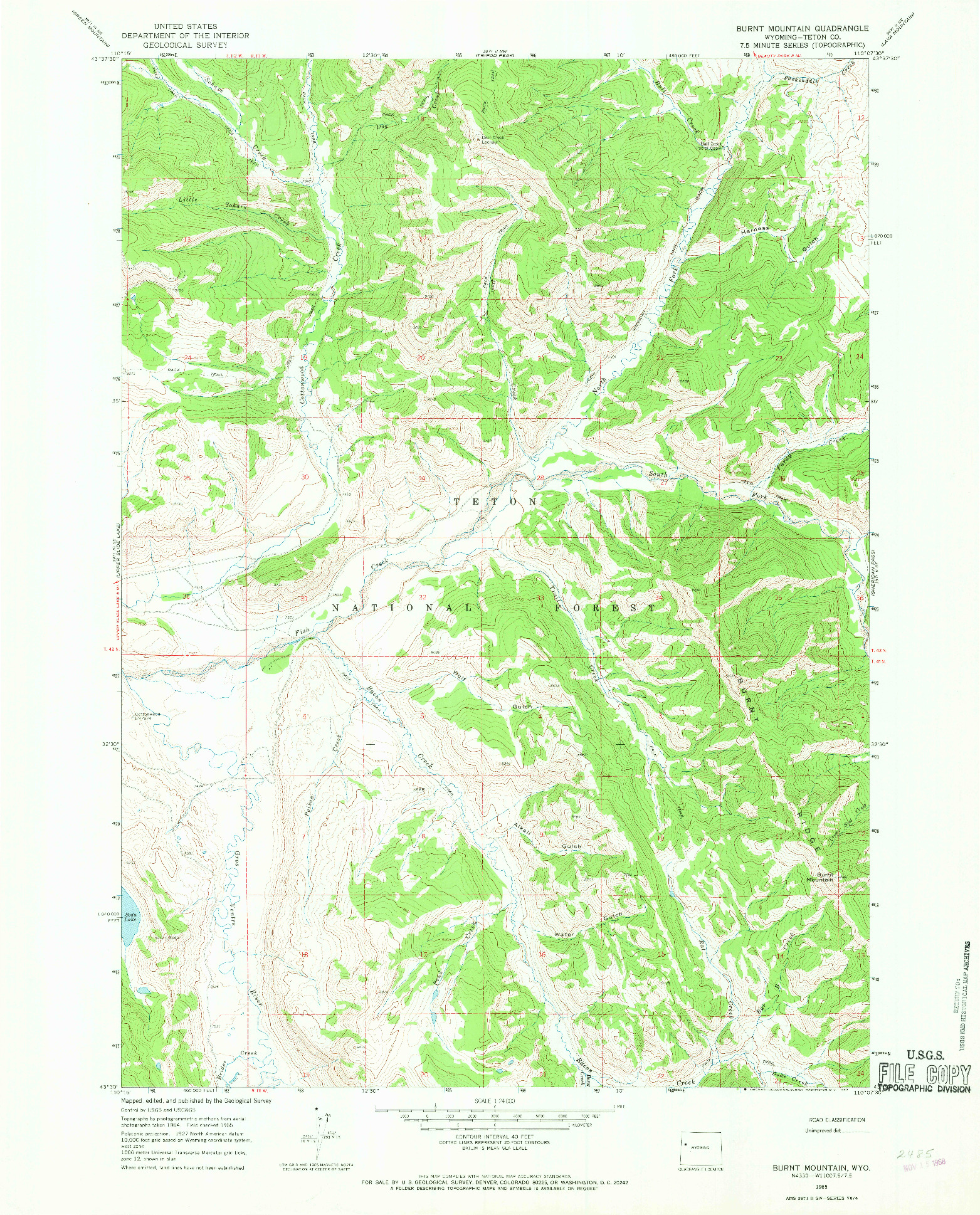 USGS 1:24000-SCALE QUADRANGLE FOR BURNT MOUNTAIN, WY 1965