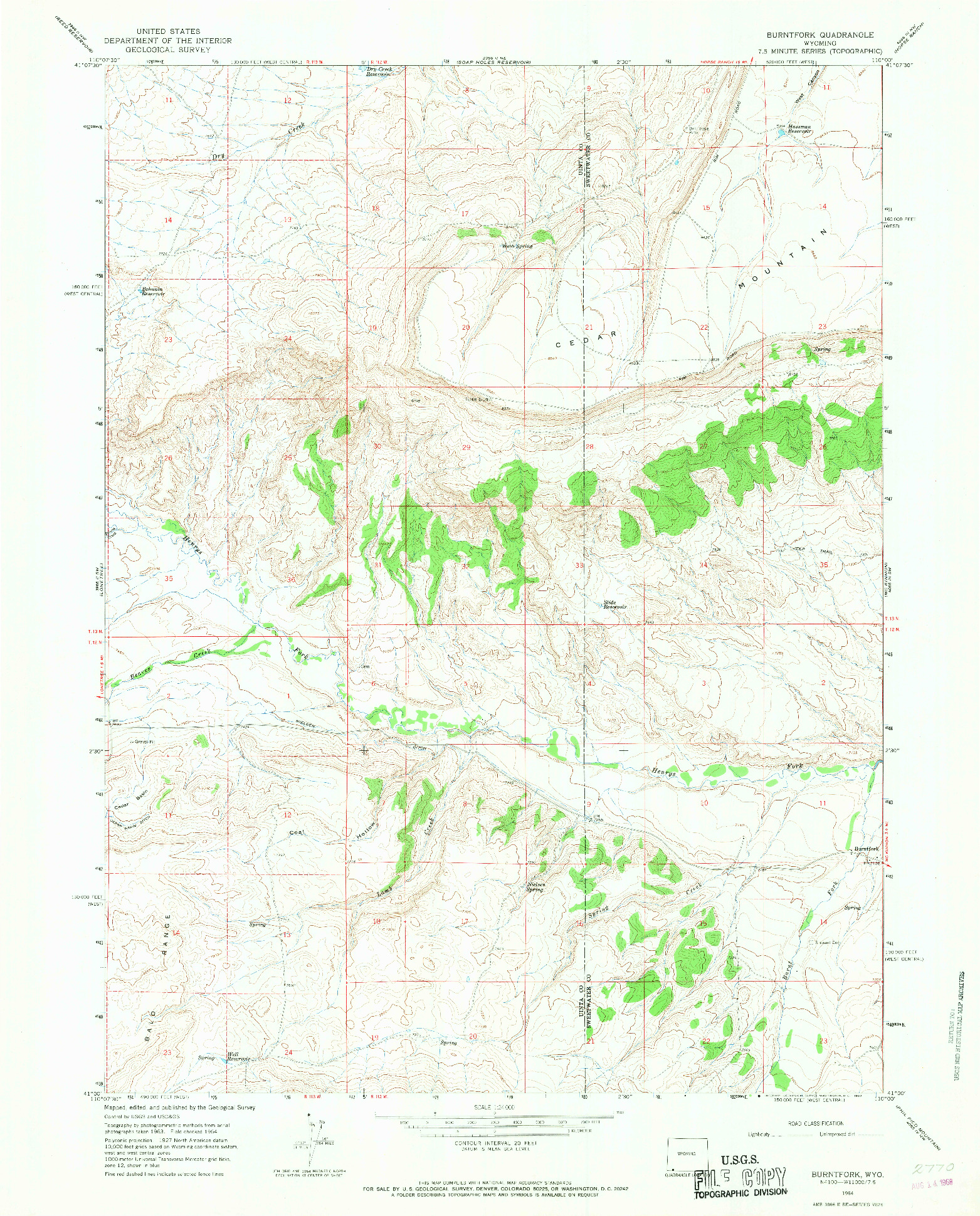 USGS 1:24000-SCALE QUADRANGLE FOR BURNTFORK, WY 1964