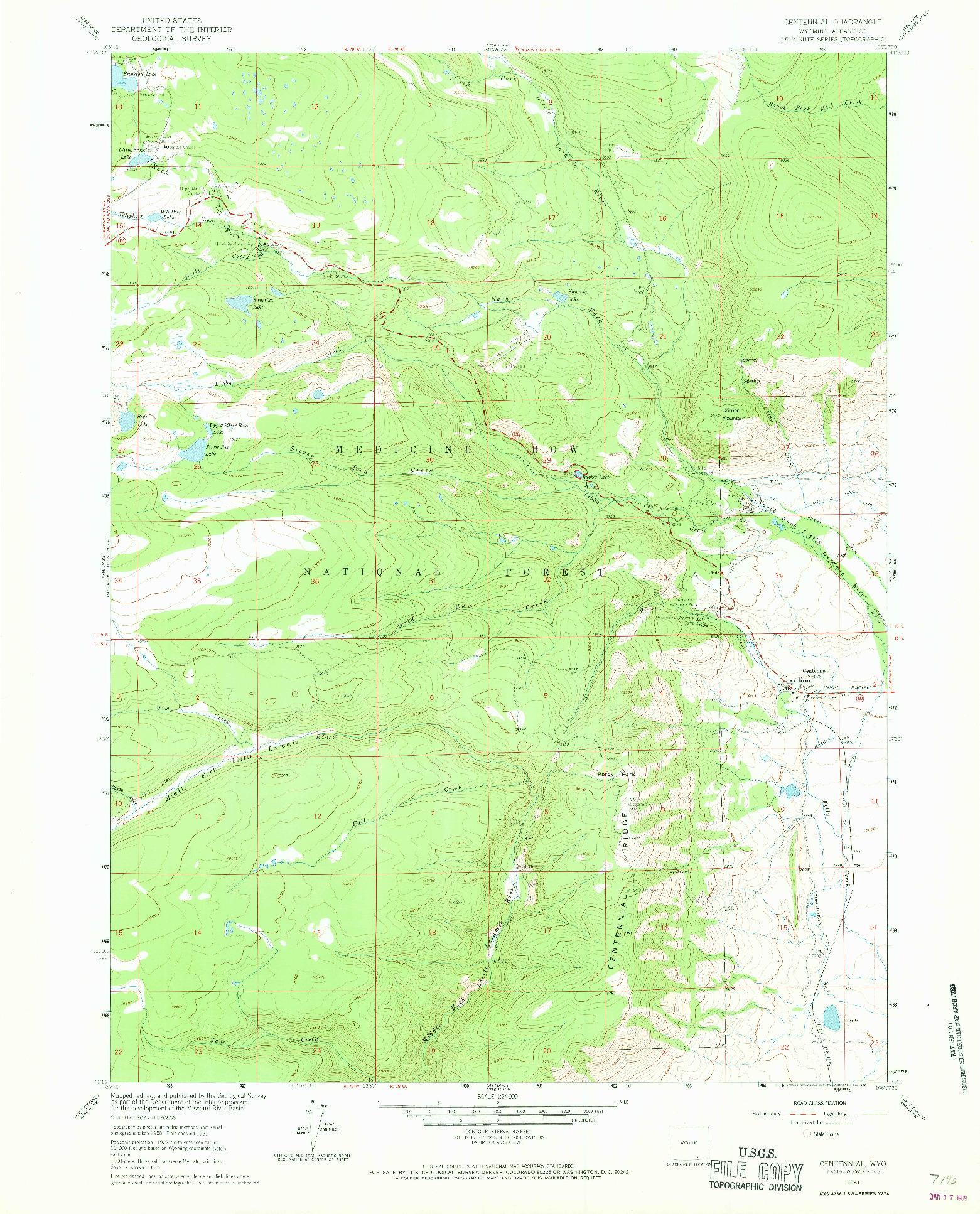 USGS 1:24000-SCALE QUADRANGLE FOR CENTENNIAL, WY 1961