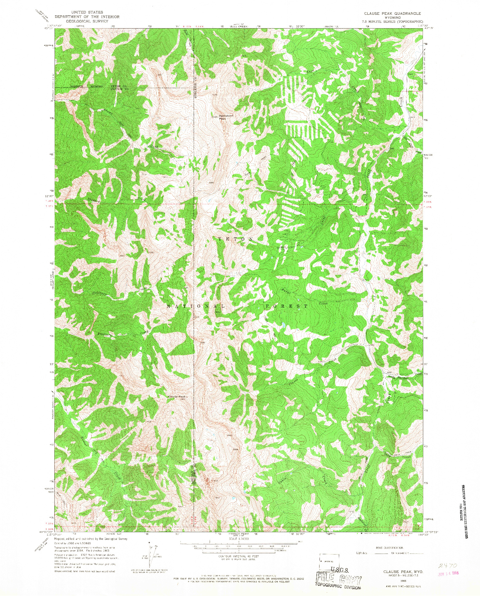 USGS 1:24000-SCALE QUADRANGLE FOR CLAUSE PEAK, WY 1965