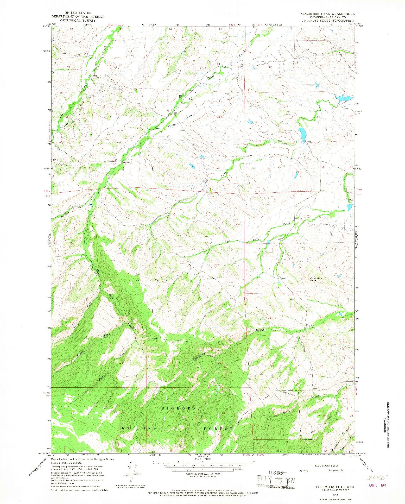USGS 1:24000-SCALE QUADRANGLE FOR COLUMBUS PEAK, WY 1964