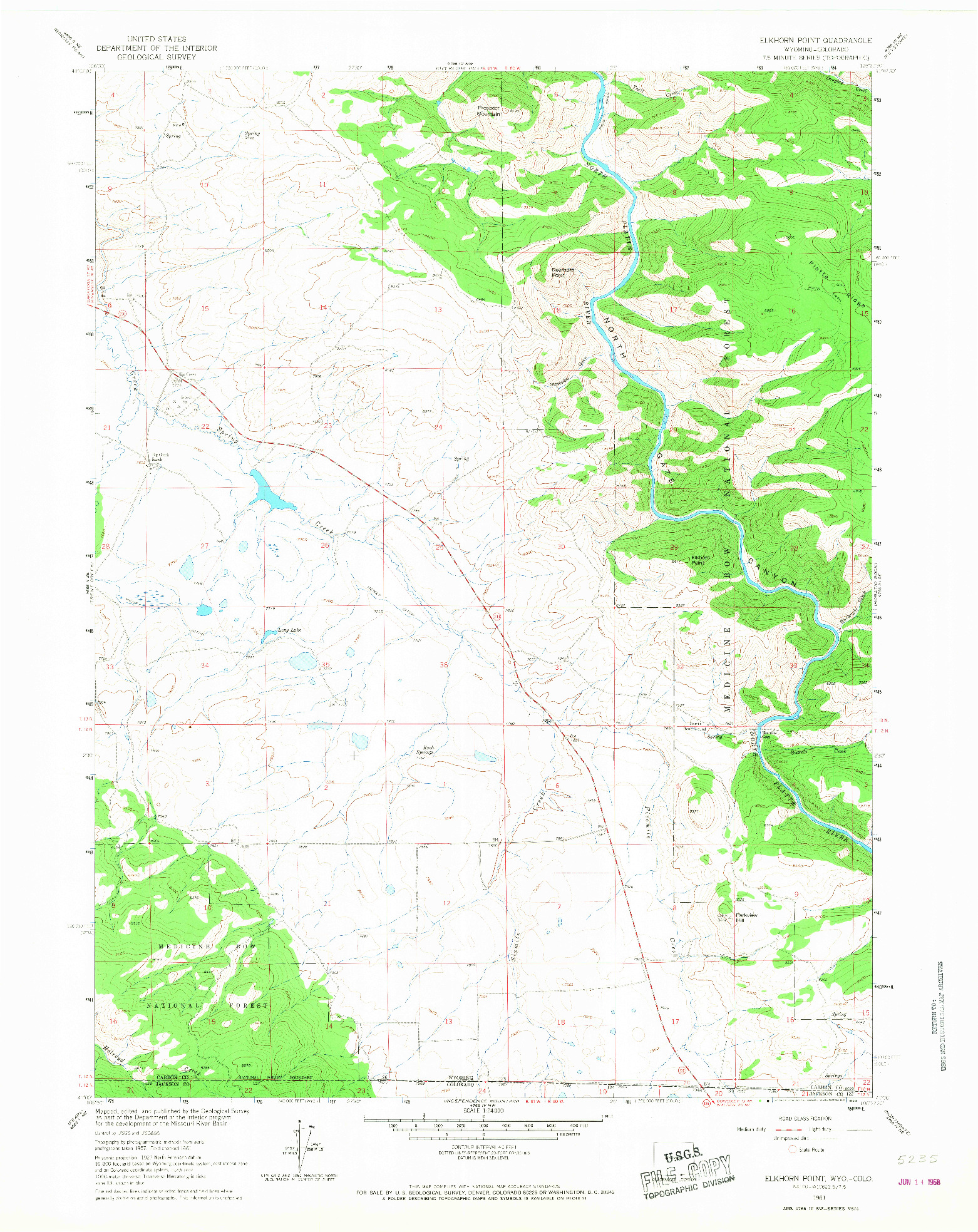 USGS 1:24000-SCALE QUADRANGLE FOR ELKHORN POINT, WY 1961