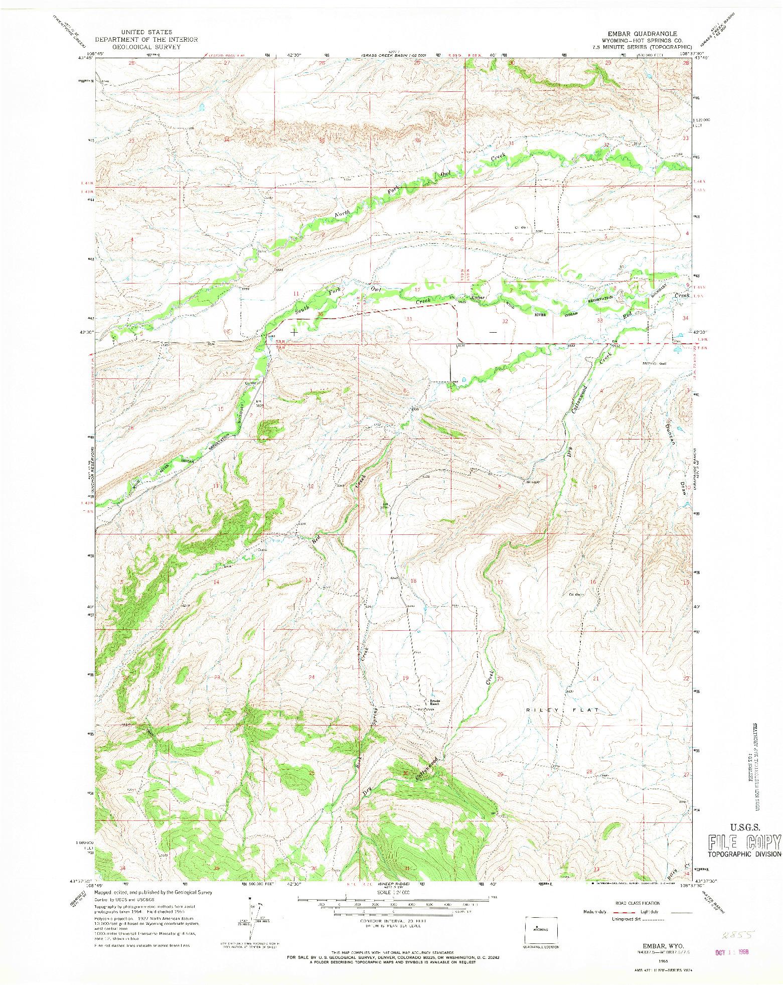 USGS 1:24000-SCALE QUADRANGLE FOR EMBAR, WY 1965