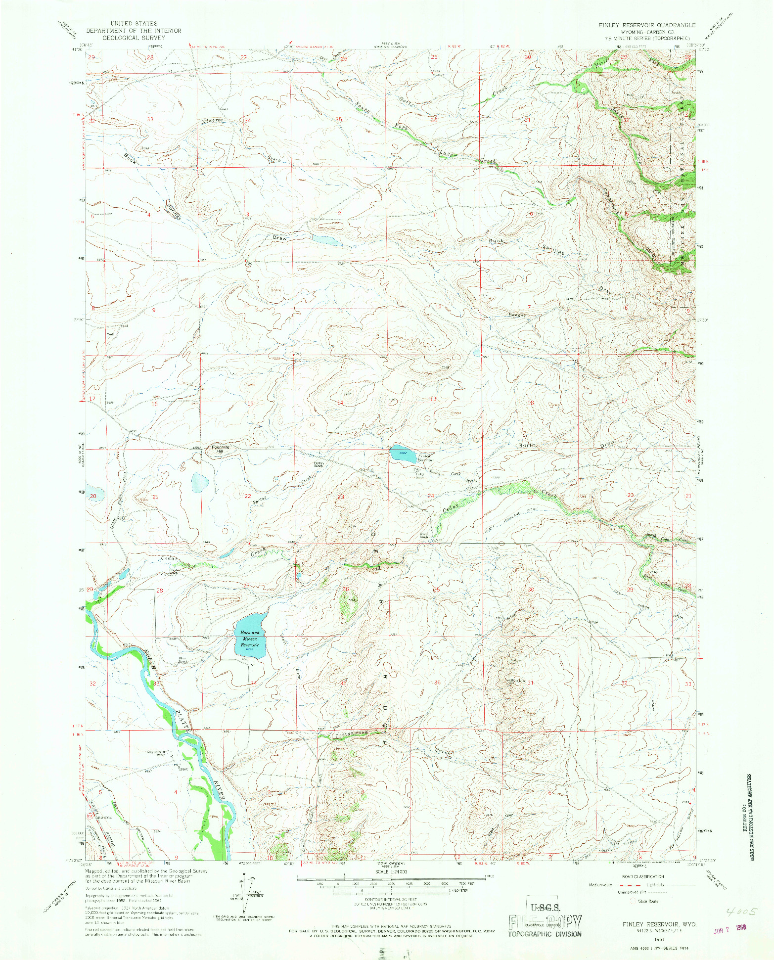 USGS 1:24000-SCALE QUADRANGLE FOR FINLEY RESERVOIR, WY 1961