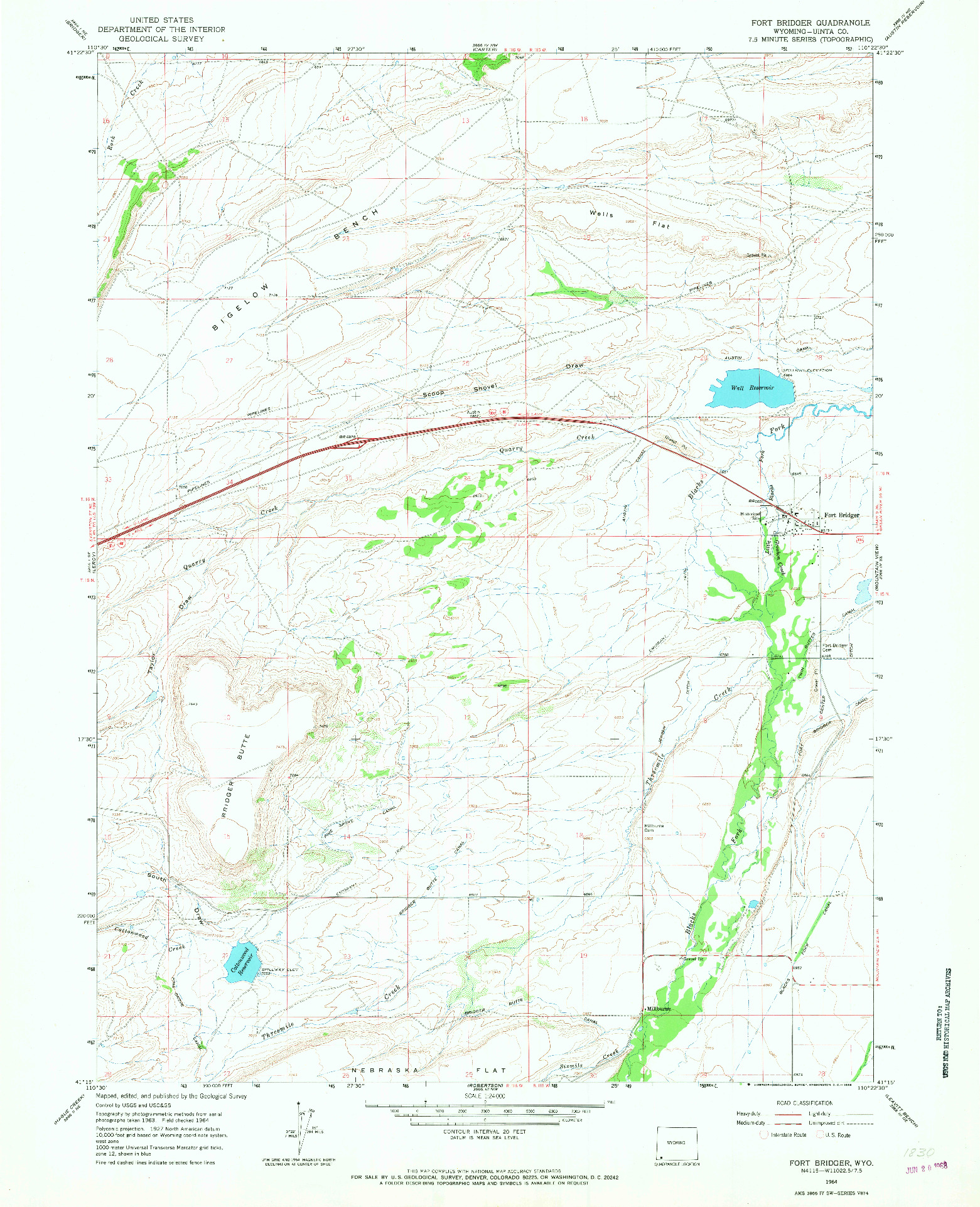 USGS 1:24000-SCALE QUADRANGLE FOR FORT BRIDGER, WY 1964