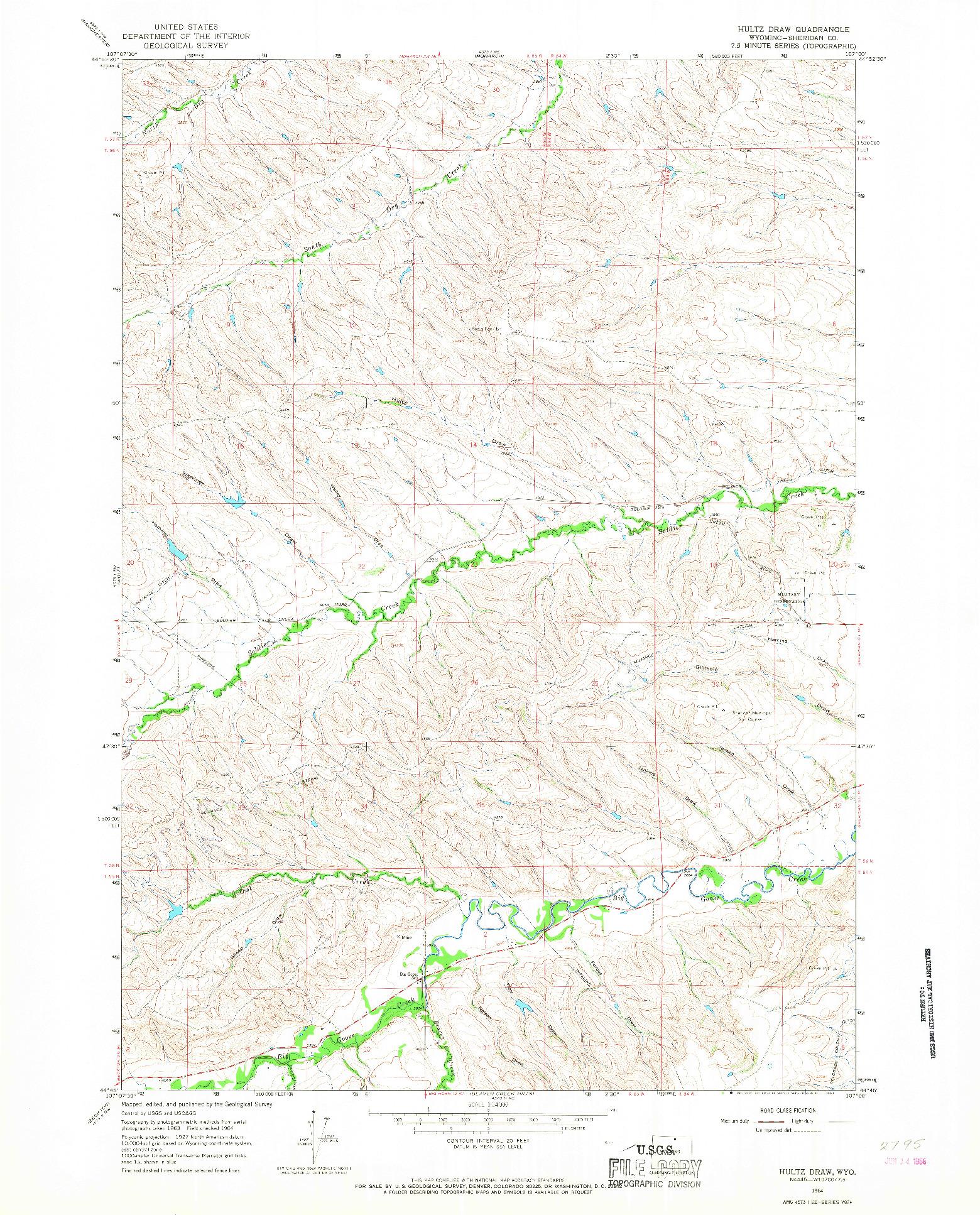 USGS 1:24000-SCALE QUADRANGLE FOR HULTZ DRAW, WY 1964