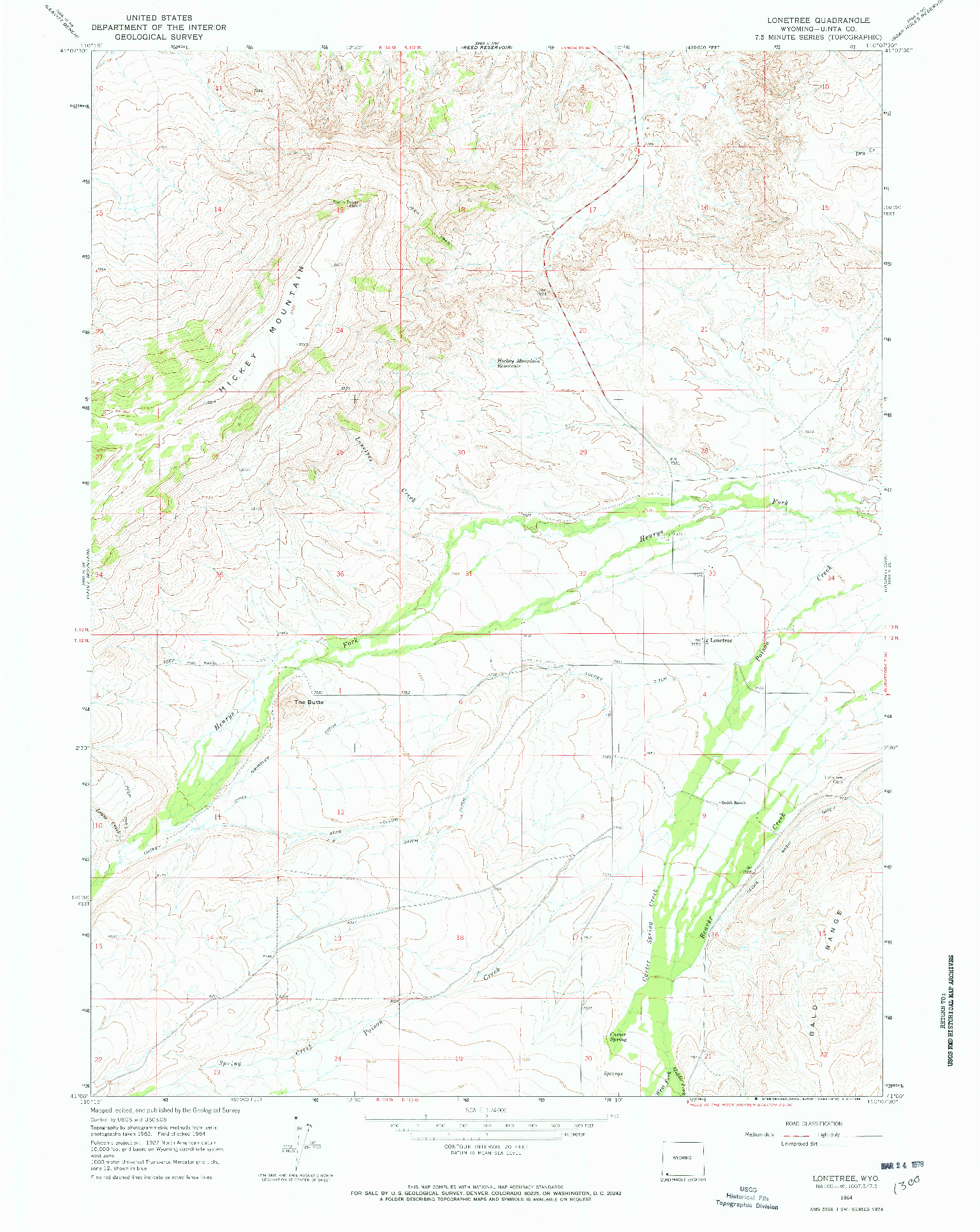 USGS 1:24000-SCALE QUADRANGLE FOR LONETREE, WY 1964