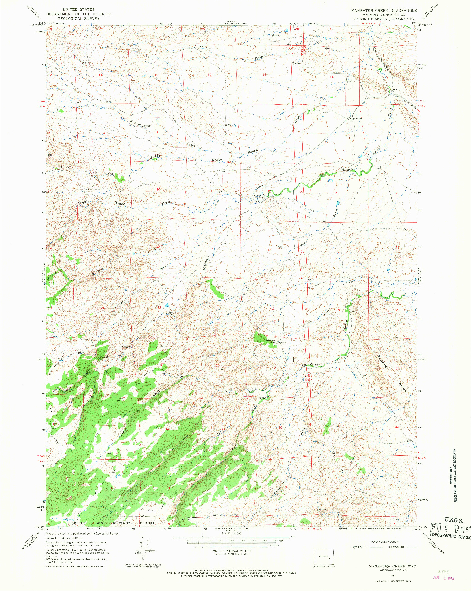 USGS 1:24000-SCALE QUADRANGLE FOR MANEATER CREEK, WY 1964