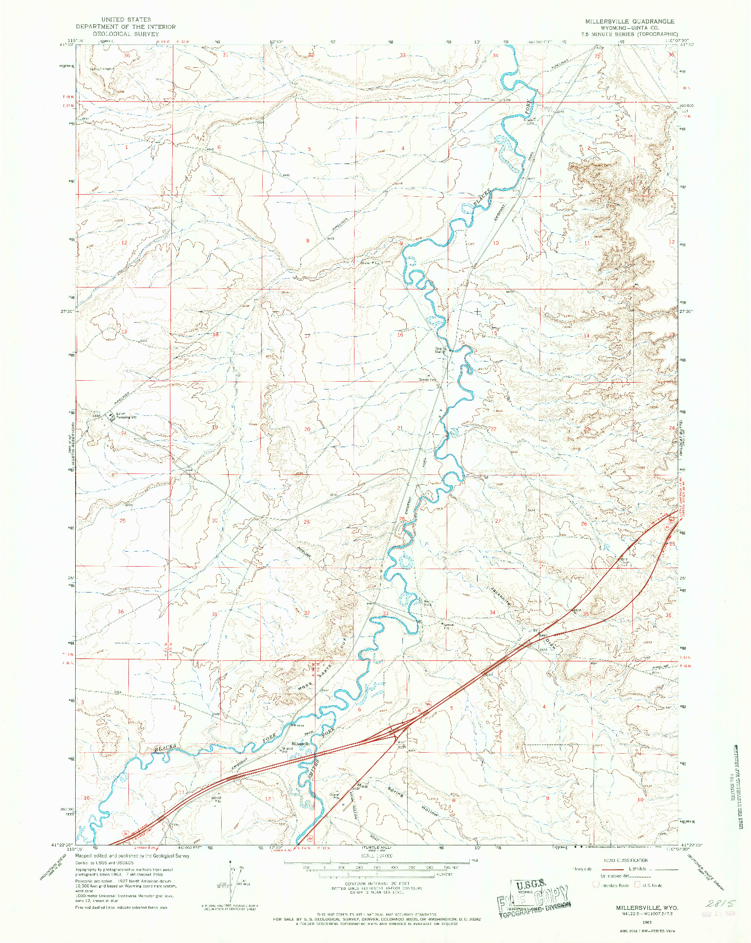 USGS 1:24000-SCALE QUADRANGLE FOR MILLERSVILLE, WY 1965