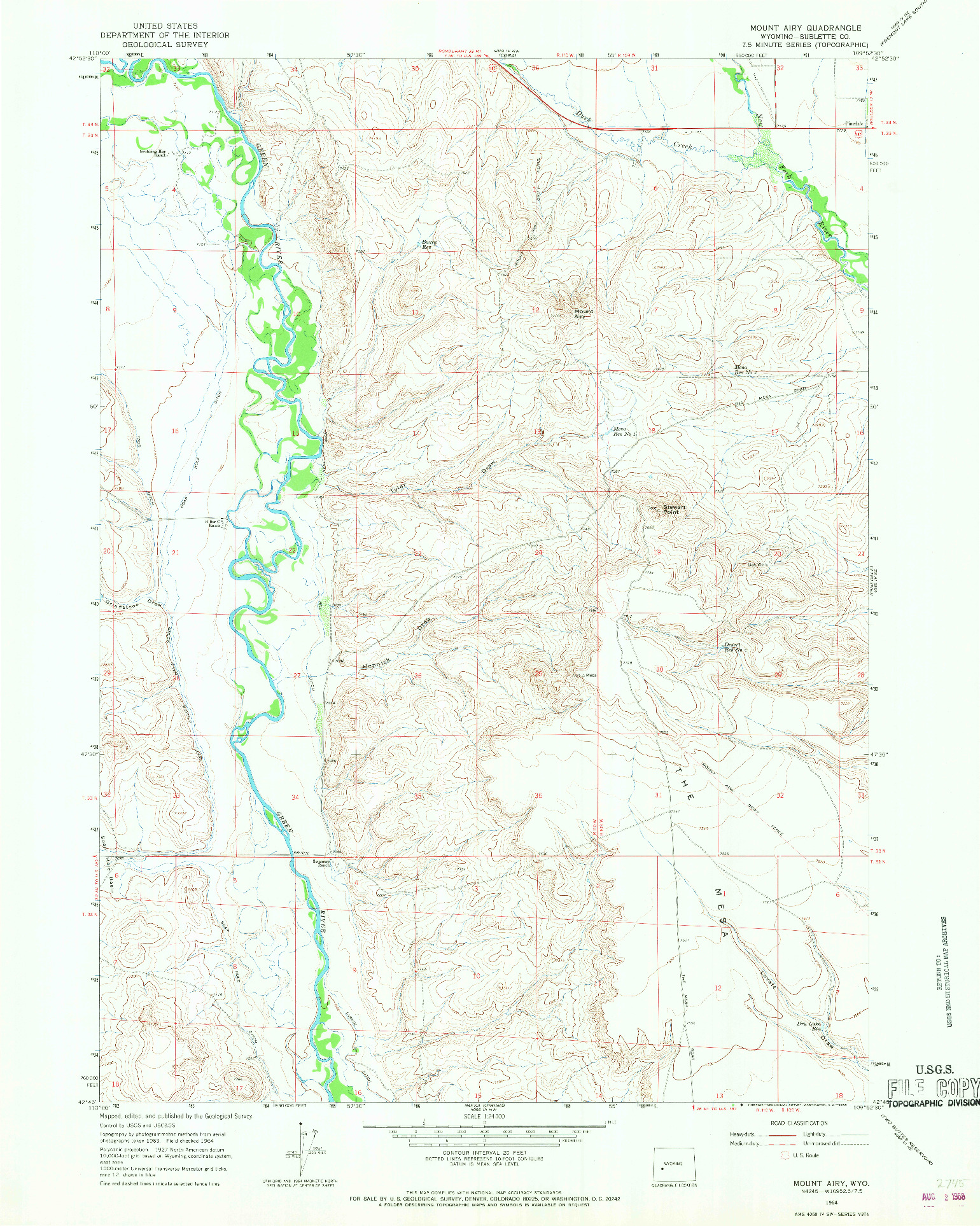 USGS 1:24000-SCALE QUADRANGLE FOR MOUNT AIRY, WY 1964