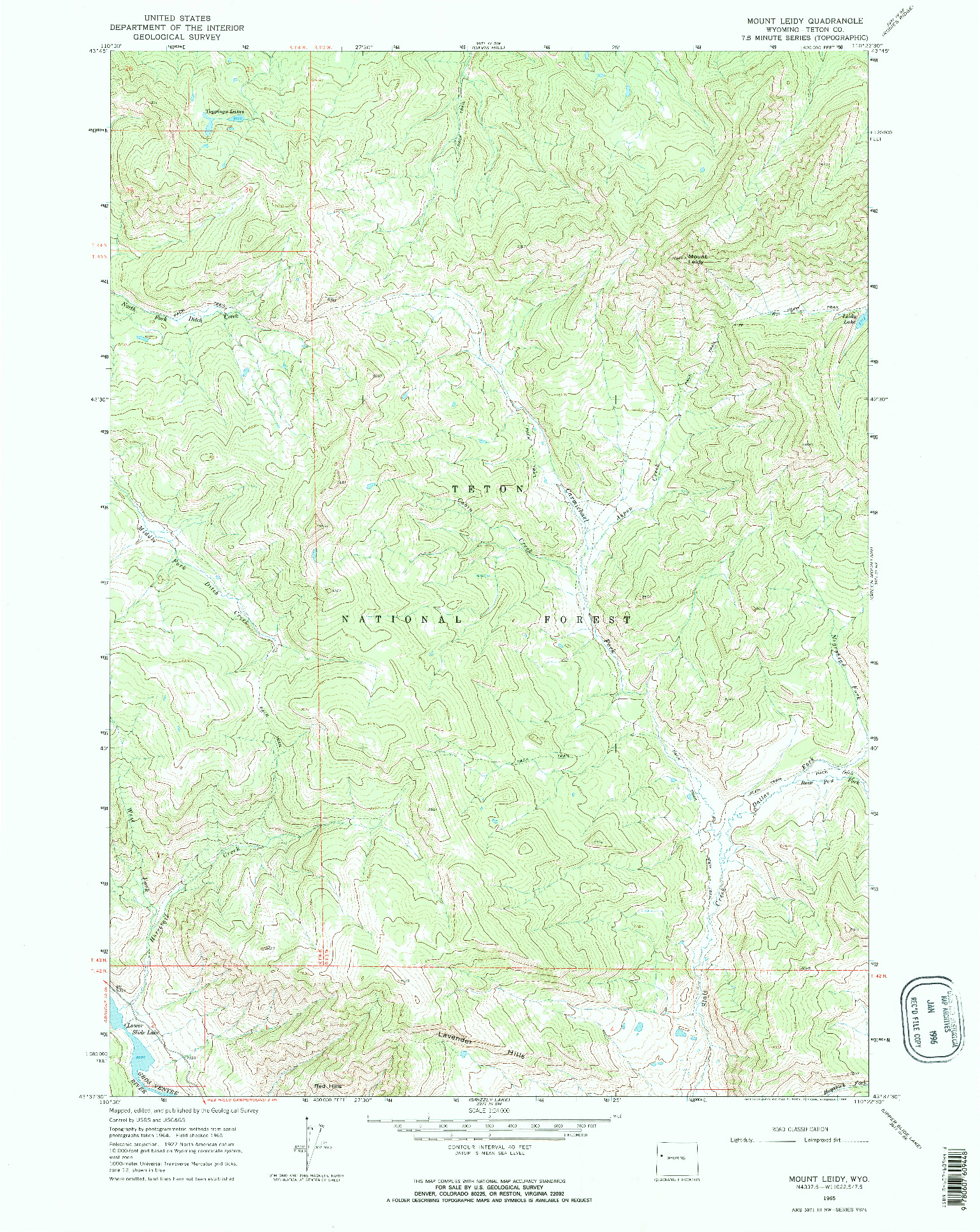 USGS 1:24000-SCALE QUADRANGLE FOR MOUNT LEIDY, WY 1965