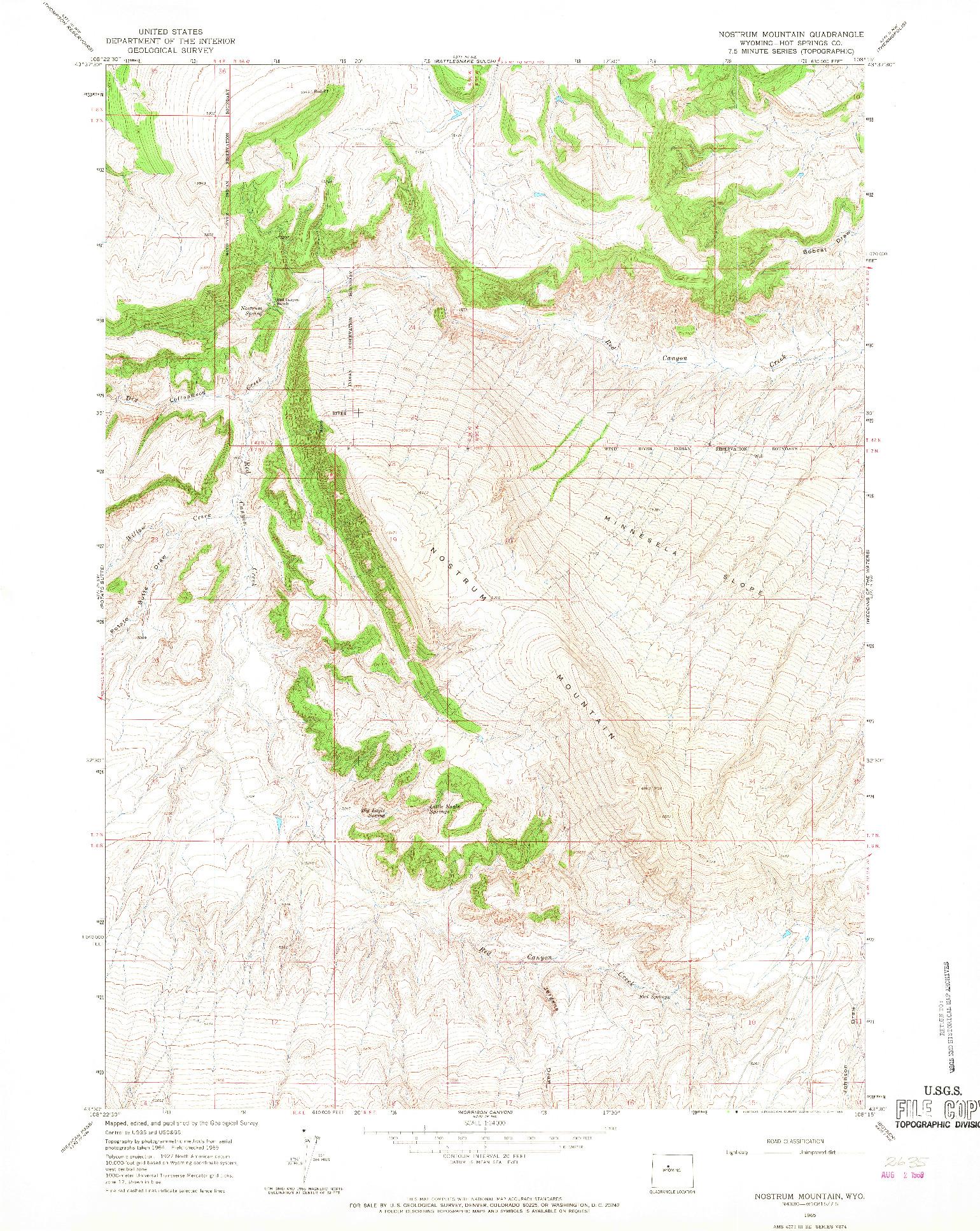 USGS 1:24000-SCALE QUADRANGLE FOR NOSTRUM MOUNTAIN, WY 1965