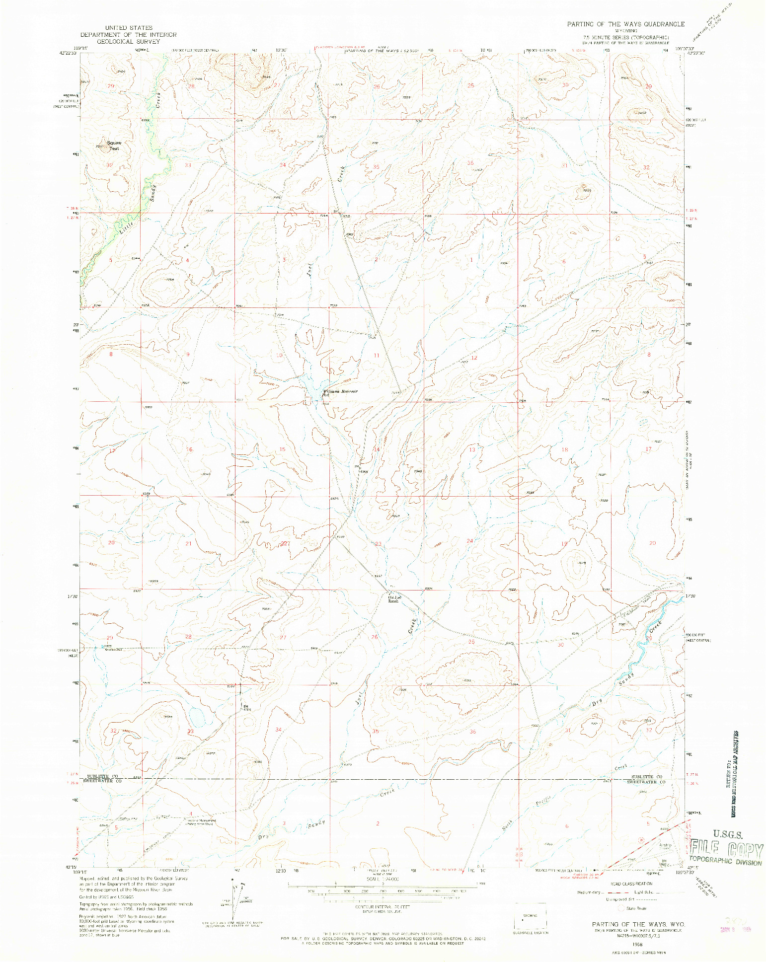 USGS 1:24000-SCALE QUADRANGLE FOR PARTING OF THE WAYS, WY 1958