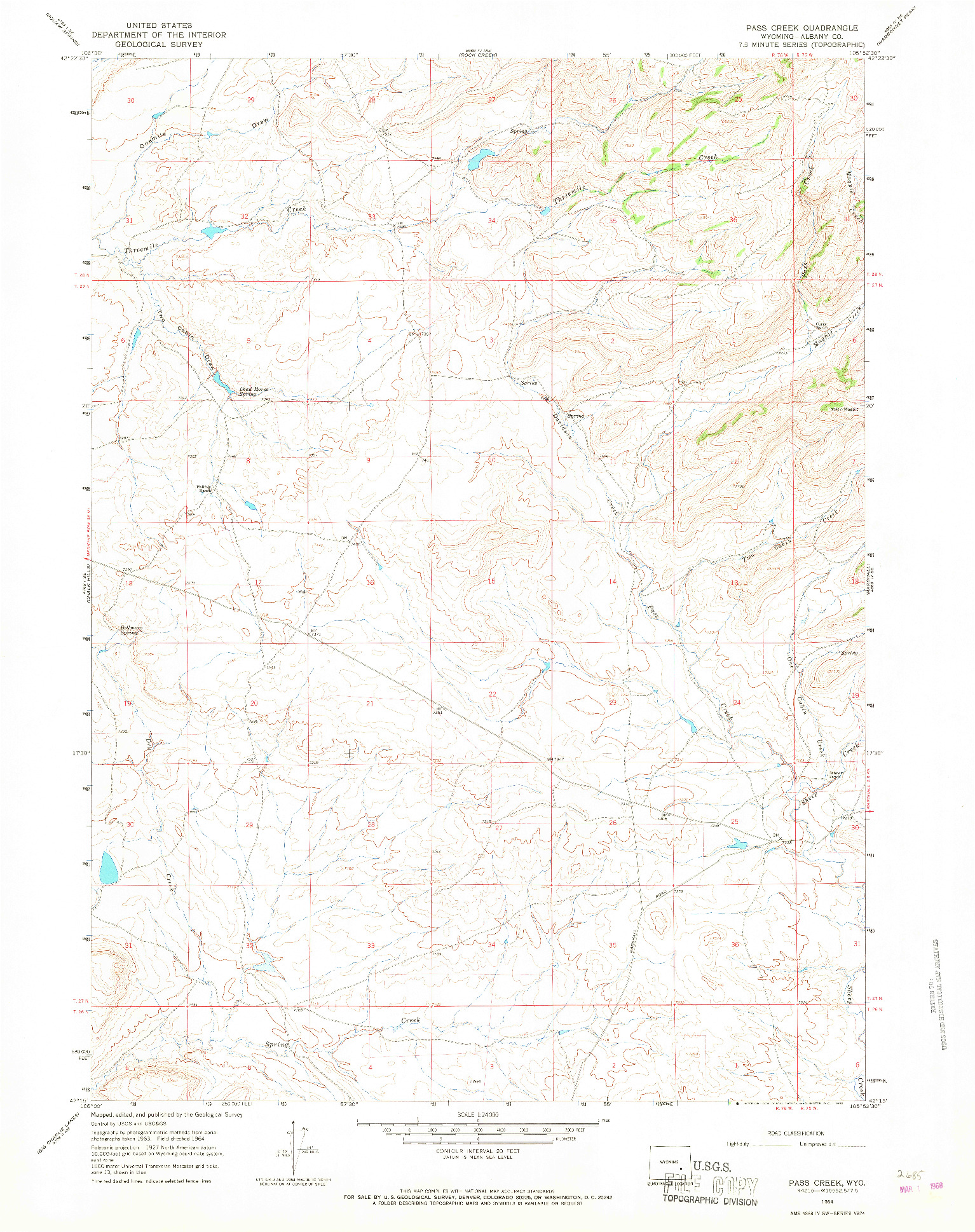 USGS 1:24000-SCALE QUADRANGLE FOR PASS CREEK, WY 1964