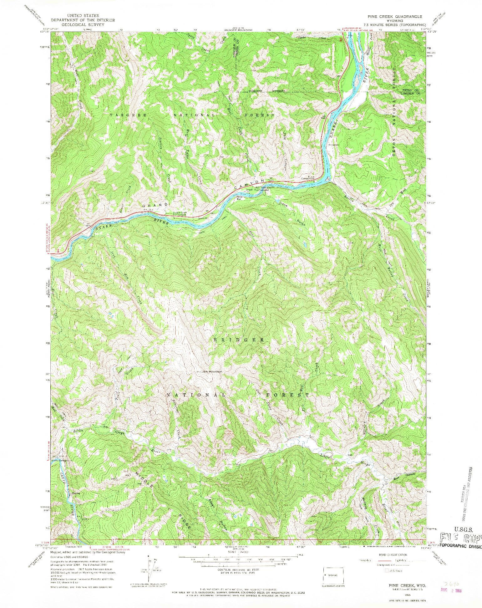 USGS 1:24000-SCALE QUADRANGLE FOR PINE CREEK, WY 1965
