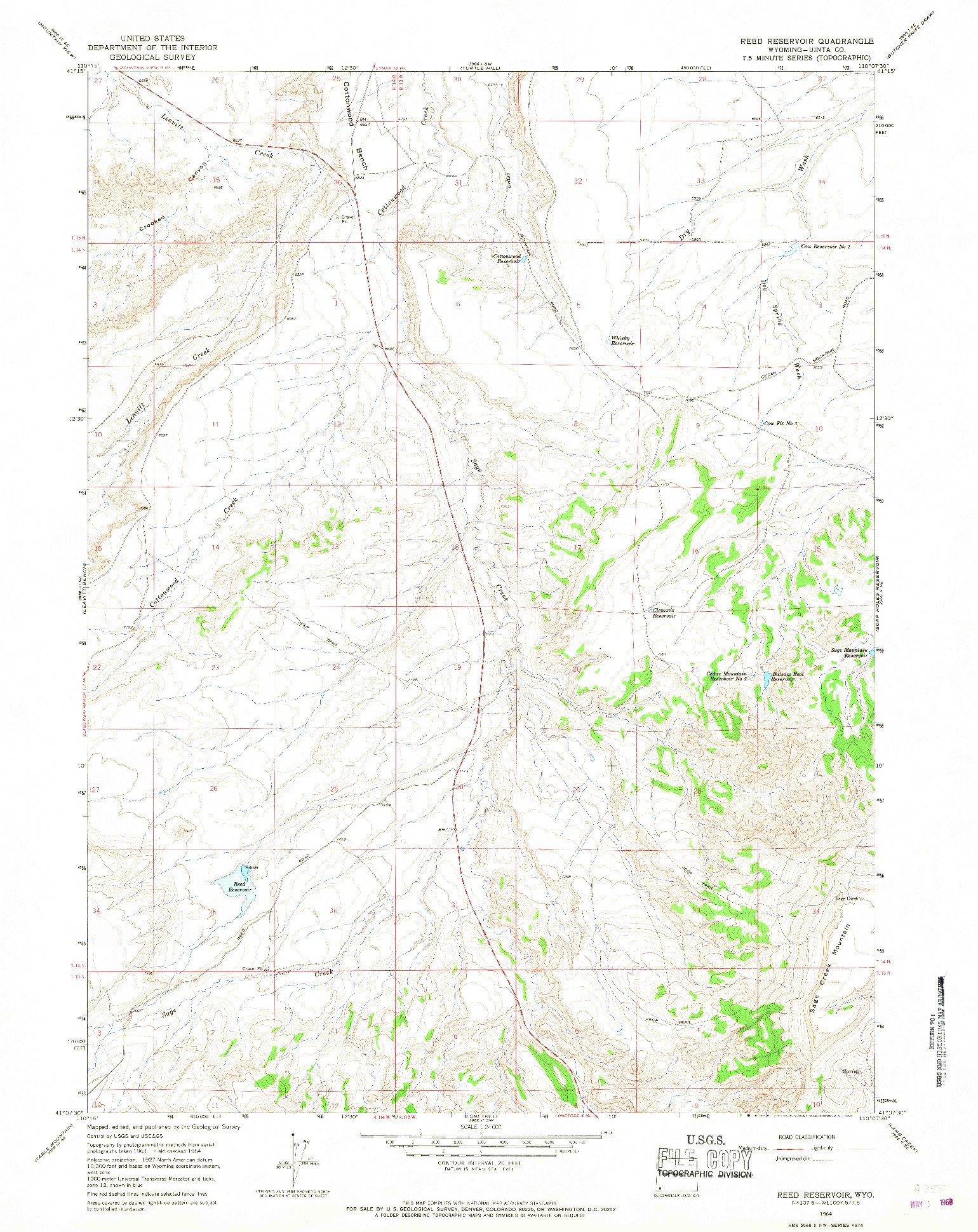 USGS 1:24000-SCALE QUADRANGLE FOR REED RESERVOIR, WY 1964