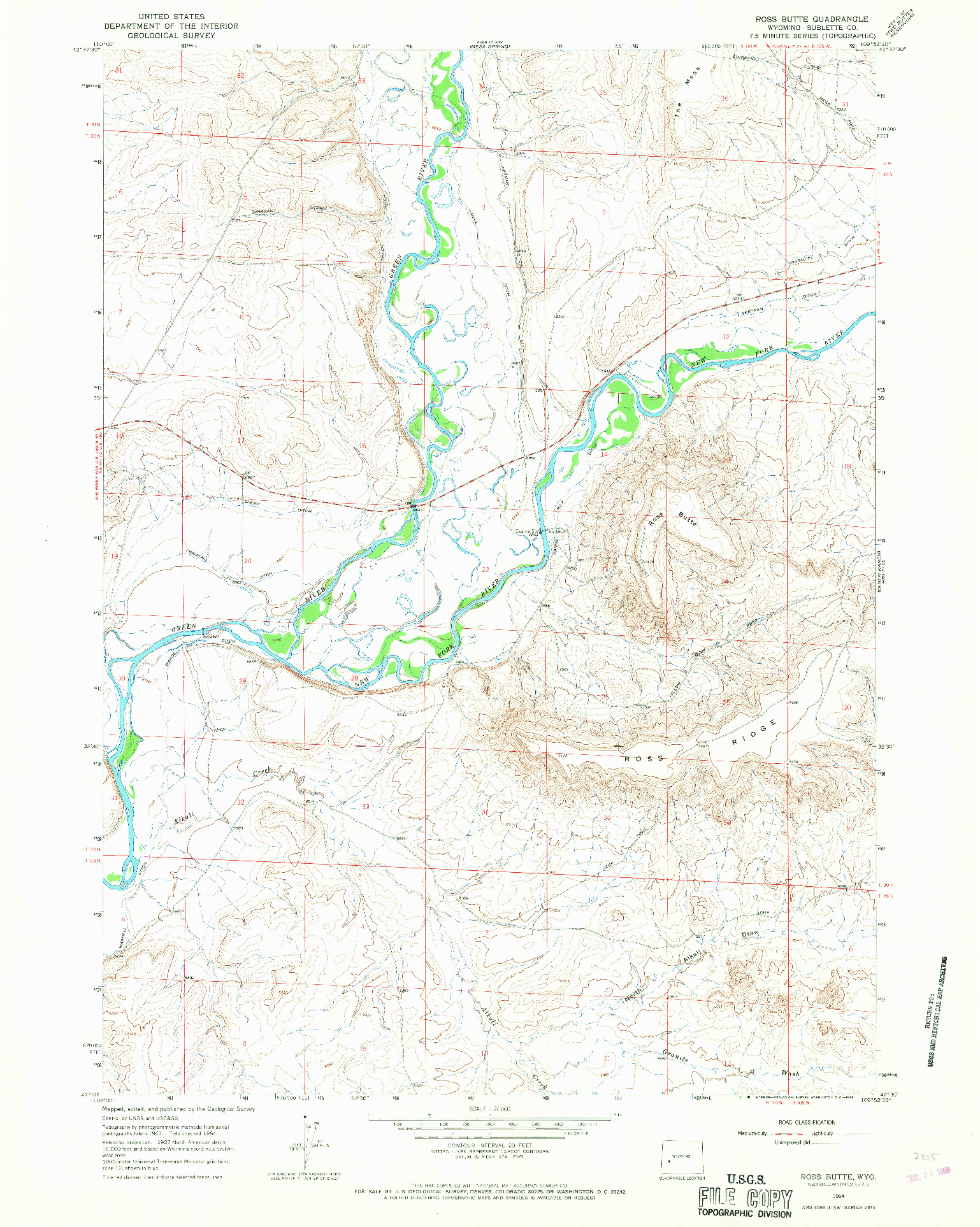 USGS 1:24000-SCALE QUADRANGLE FOR ROSS BUTTE, WY 1964