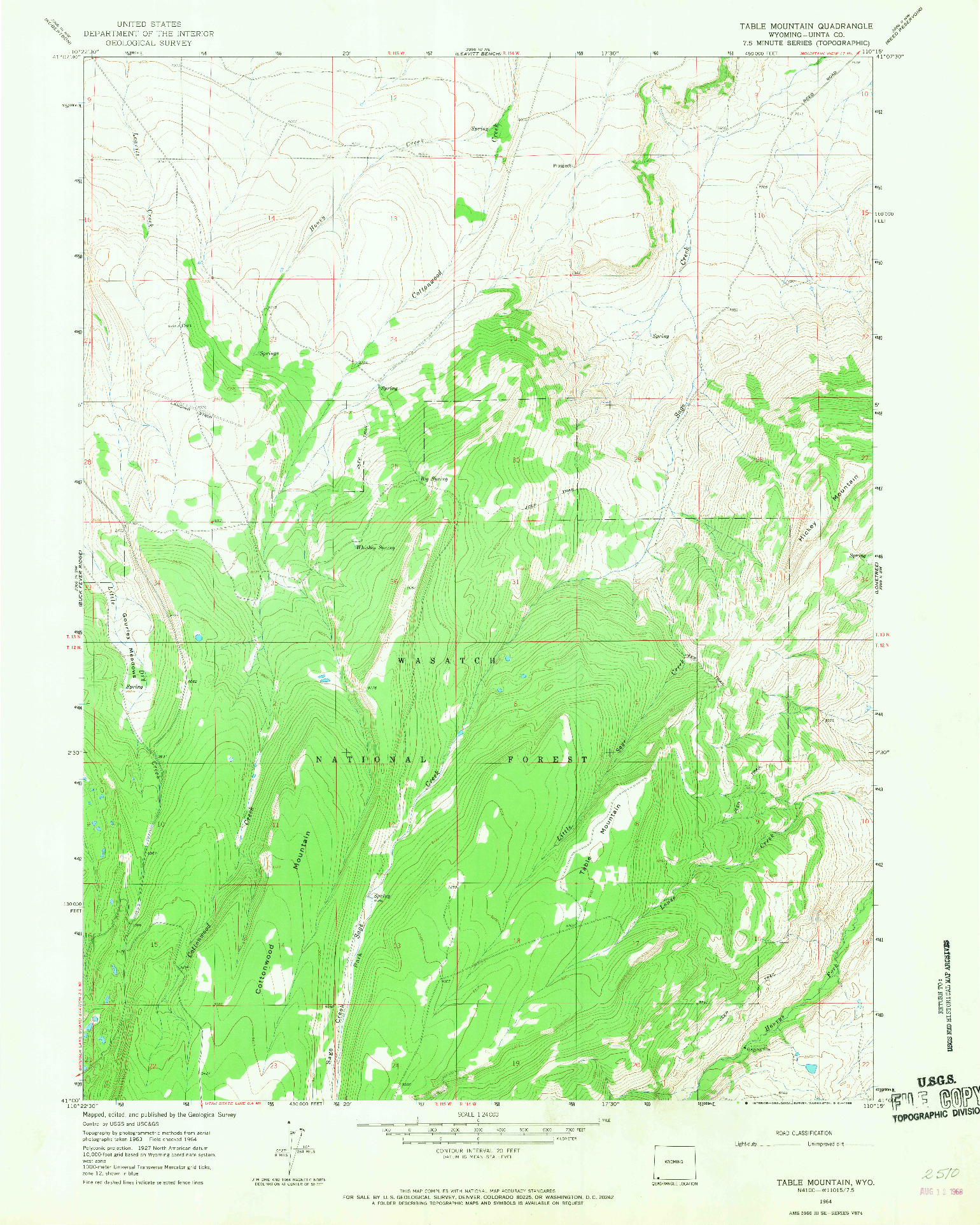USGS 1:24000-SCALE QUADRANGLE FOR TABLE MOUNTAIN, WY 1964