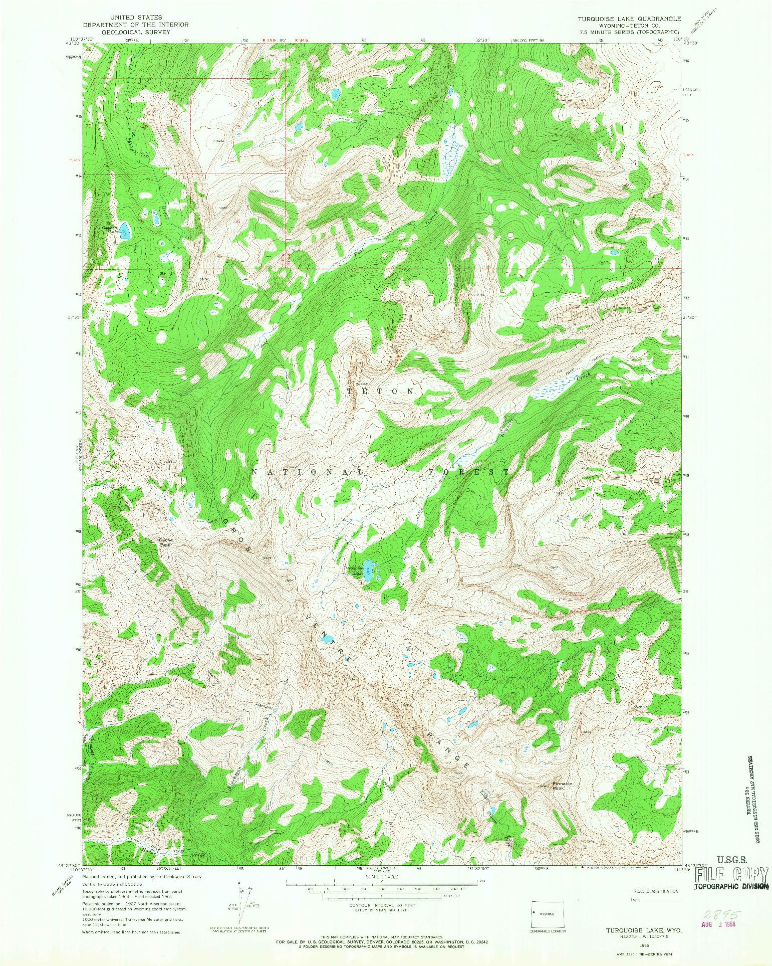 USGS 1:24000-SCALE QUADRANGLE FOR TURQUOISE LAKE, WY 1965