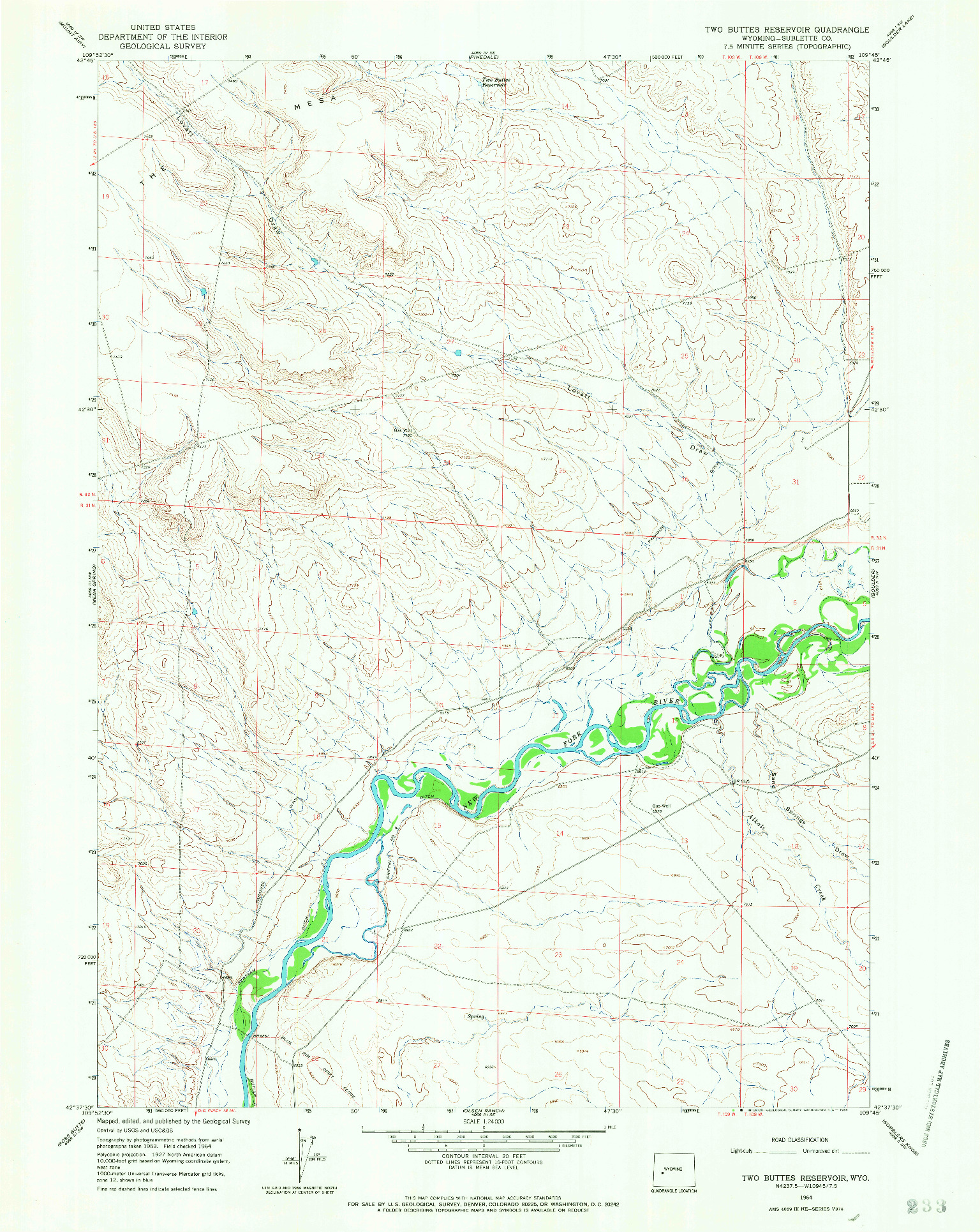 USGS 1:24000-SCALE QUADRANGLE FOR TWO BUTTES RESERVOIR, WY 1964