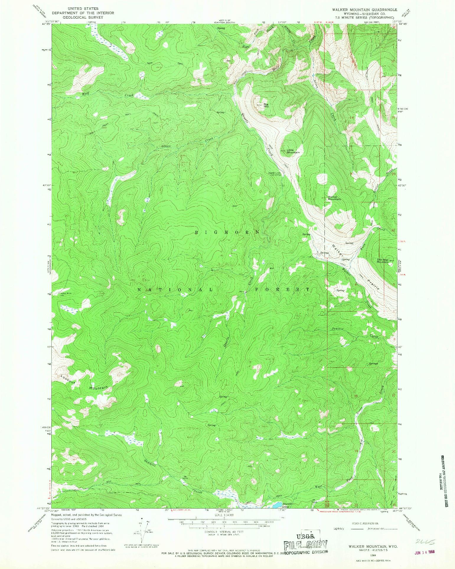 USGS 1:24000-SCALE QUADRANGLE FOR WALKER MOUNTAIN, WY 1964