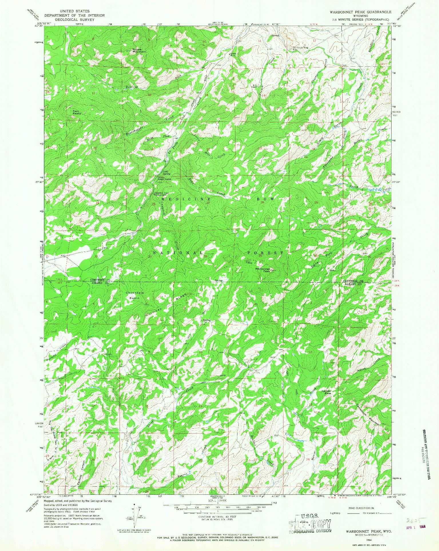 USGS 1:24000-SCALE QUADRANGLE FOR WARBONNET PEAK, WY 1964