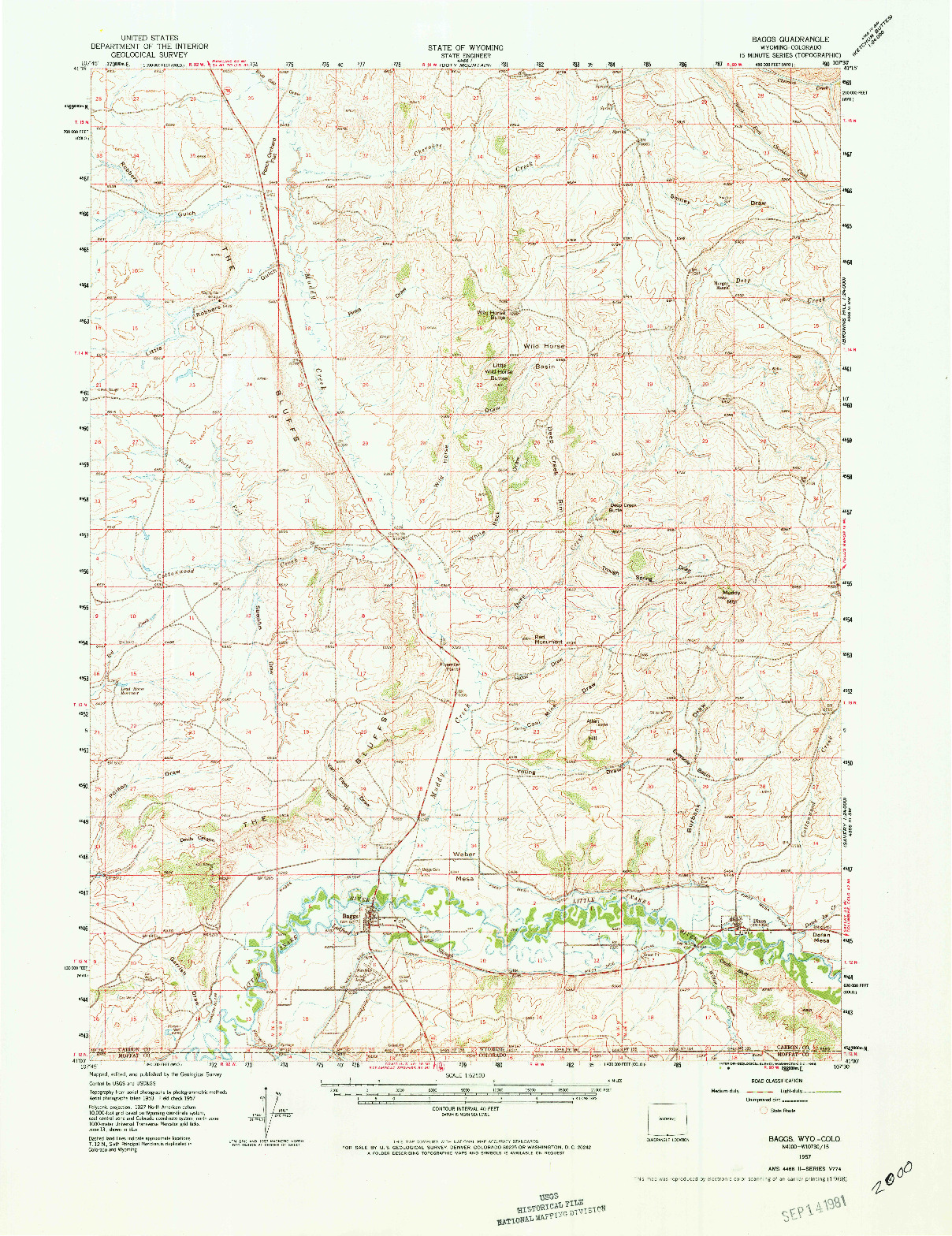 USGS 1:62500-SCALE QUADRANGLE FOR BAGGS, WY 1957
