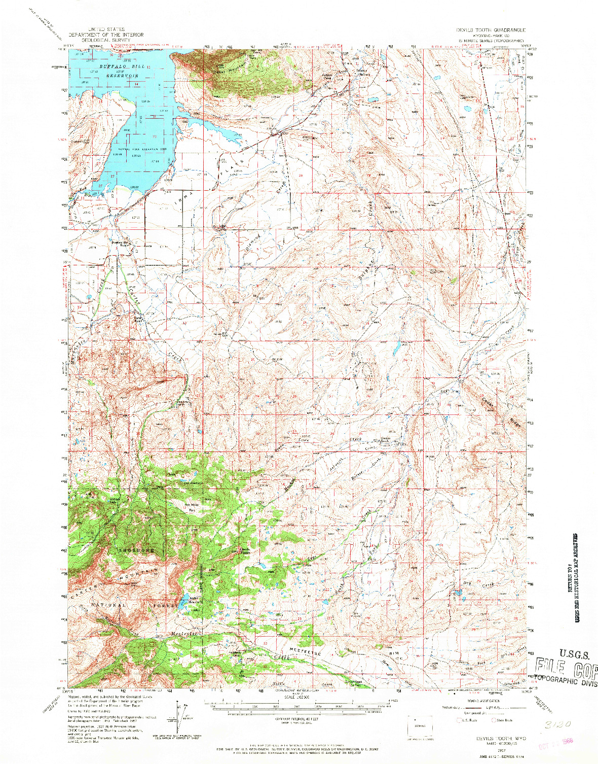 USGS 1:62500-SCALE QUADRANGLE FOR DEVILS TOOTH, WY 1957