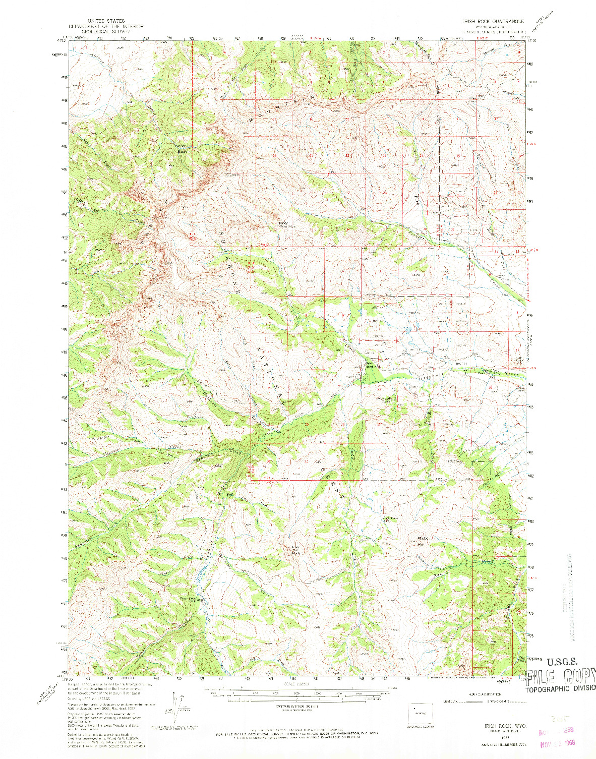 USGS 1:62500-SCALE QUADRANGLE FOR IRISH ROCK, WY 1957