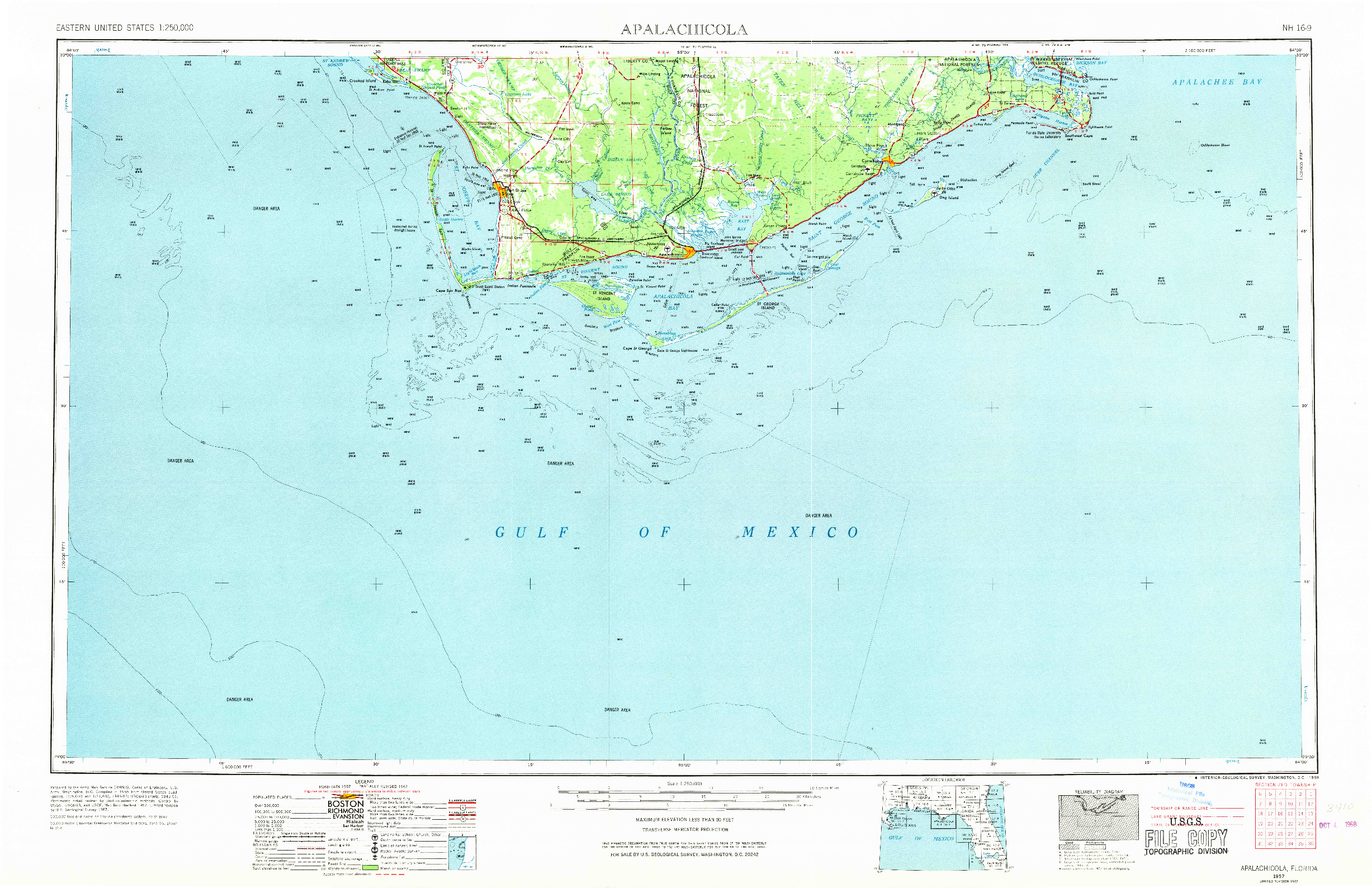 USGS 1:250000-SCALE QUADRANGLE FOR APALACHICOLA, FL 1957