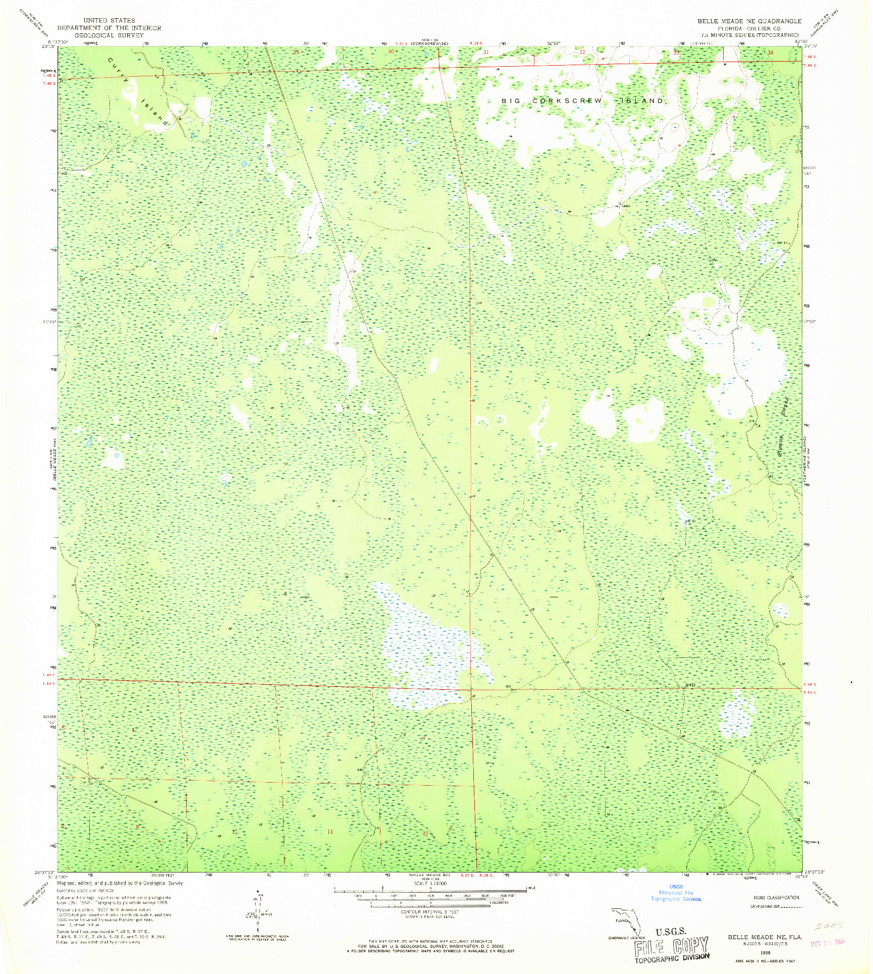 USGS 1:24000-SCALE QUADRANGLE FOR BELLE MEADE NE, FL 1958