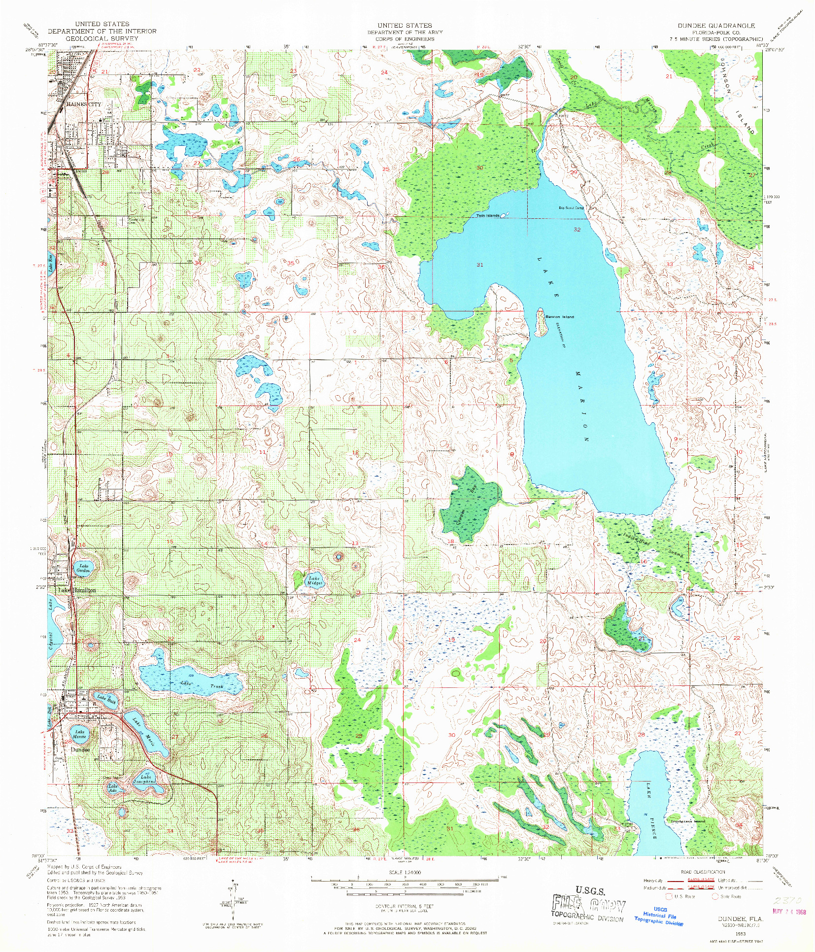 USGS 1:24000-SCALE QUADRANGLE FOR DUNDEE, FL 1953