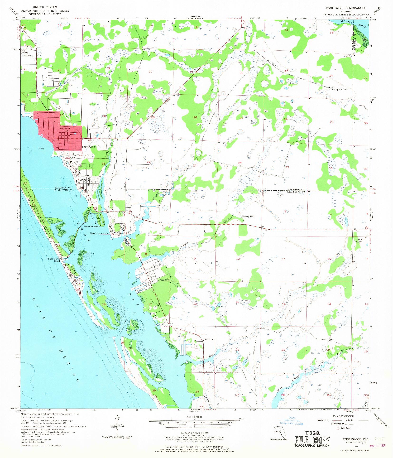 USGS 1:24000-SCALE QUADRANGLE FOR ENGLEWOOD, FL 1956