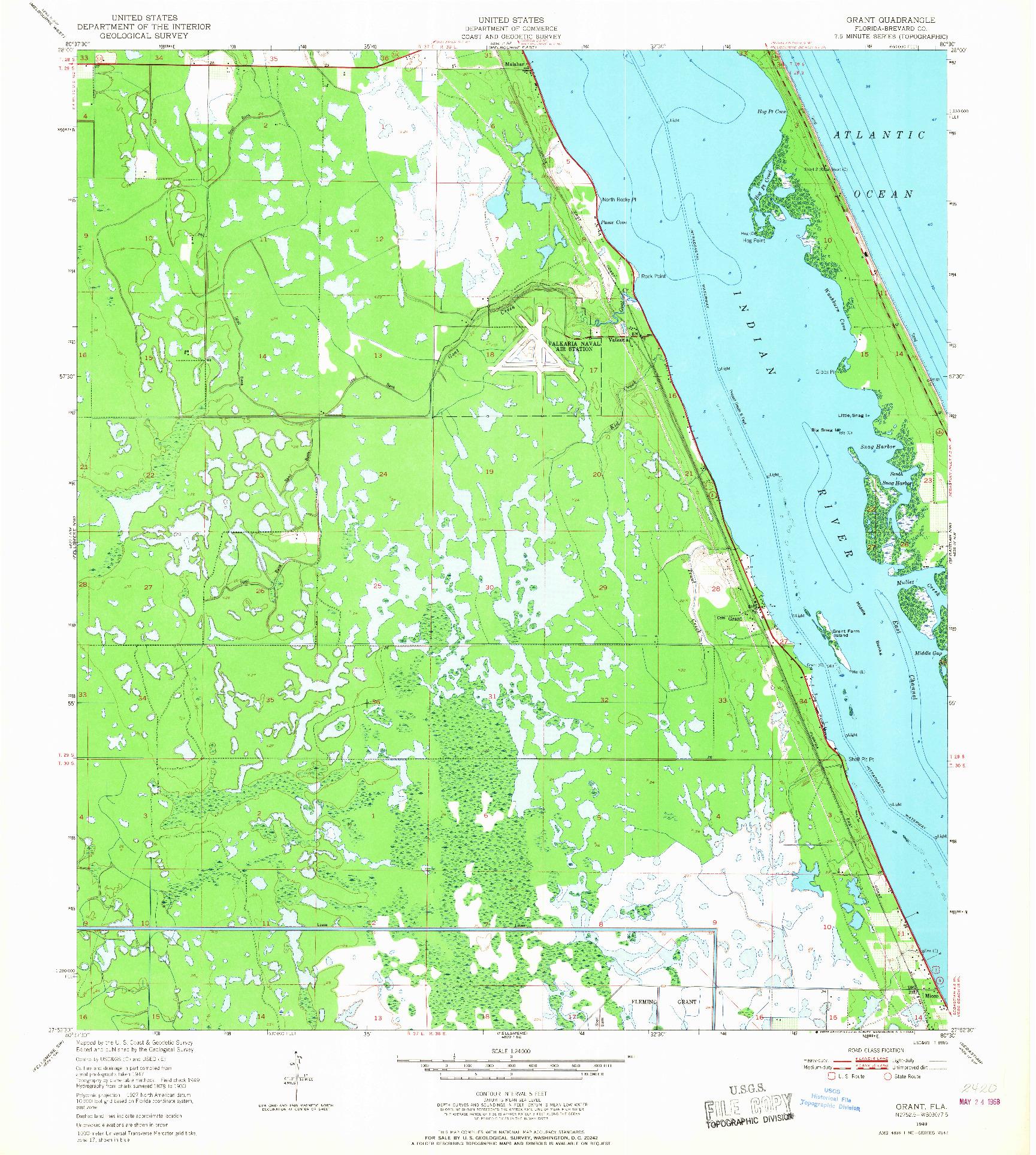 USGS 1:24000-SCALE QUADRANGLE FOR GRANT, FL 1949