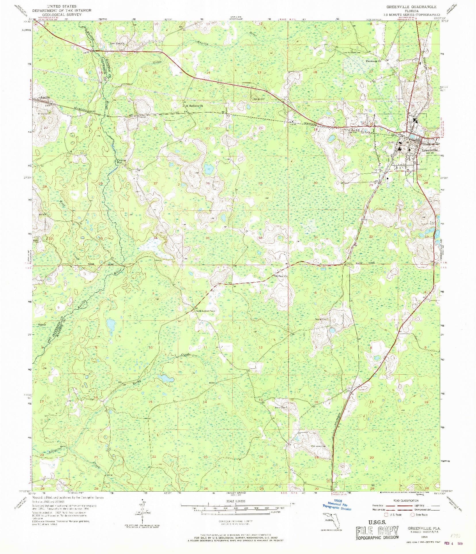 USGS 1:24000-SCALE QUADRANGLE FOR GREENVILLE, FL 1954