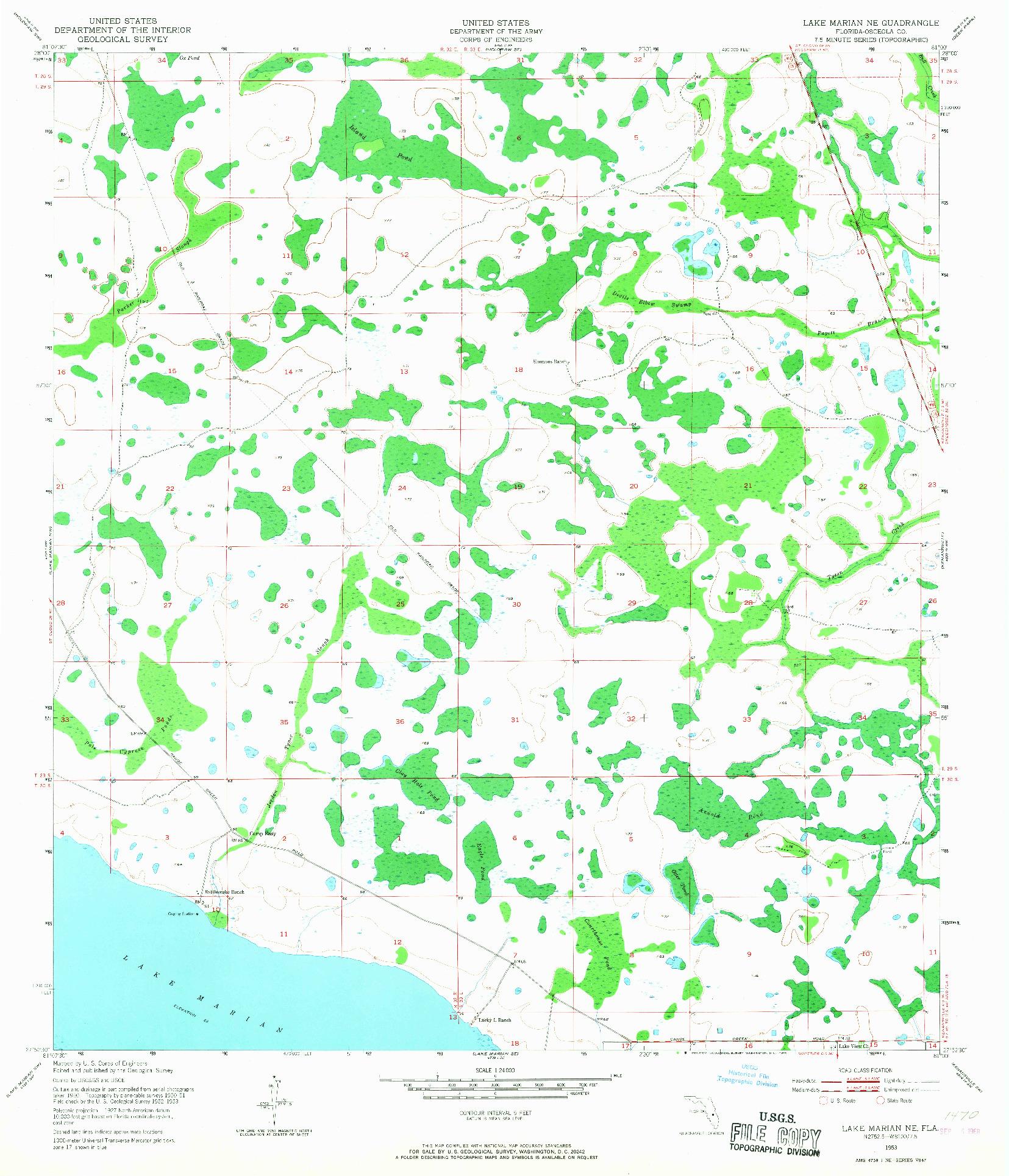 USGS 1:24000-SCALE QUADRANGLE FOR LAKE MARIAN NE, FL 1953